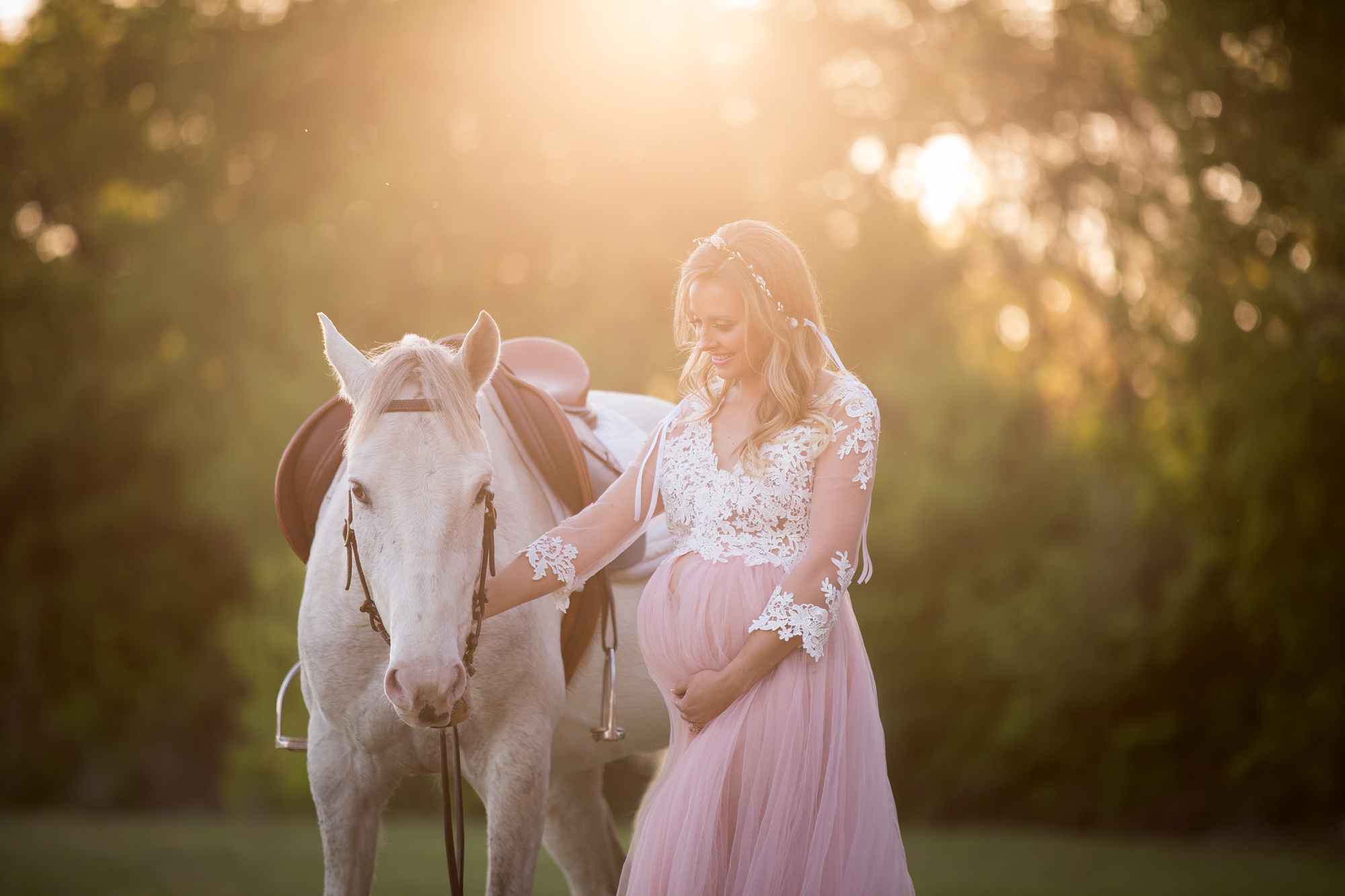 picture of a pregnant mom with her horse