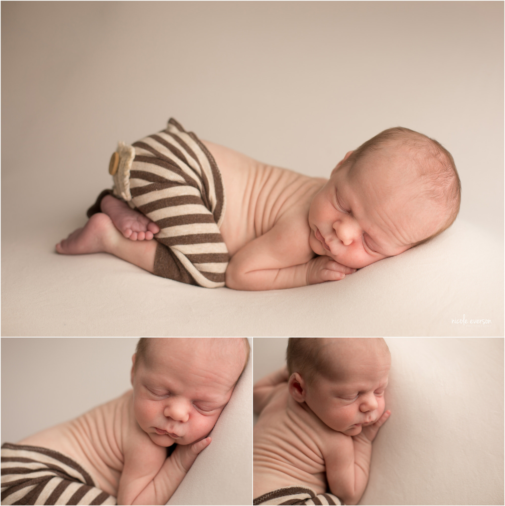 Newborn baby boy wearing brown and cream striped, laying on a soft white backdrop at Nicole Everson Photography.