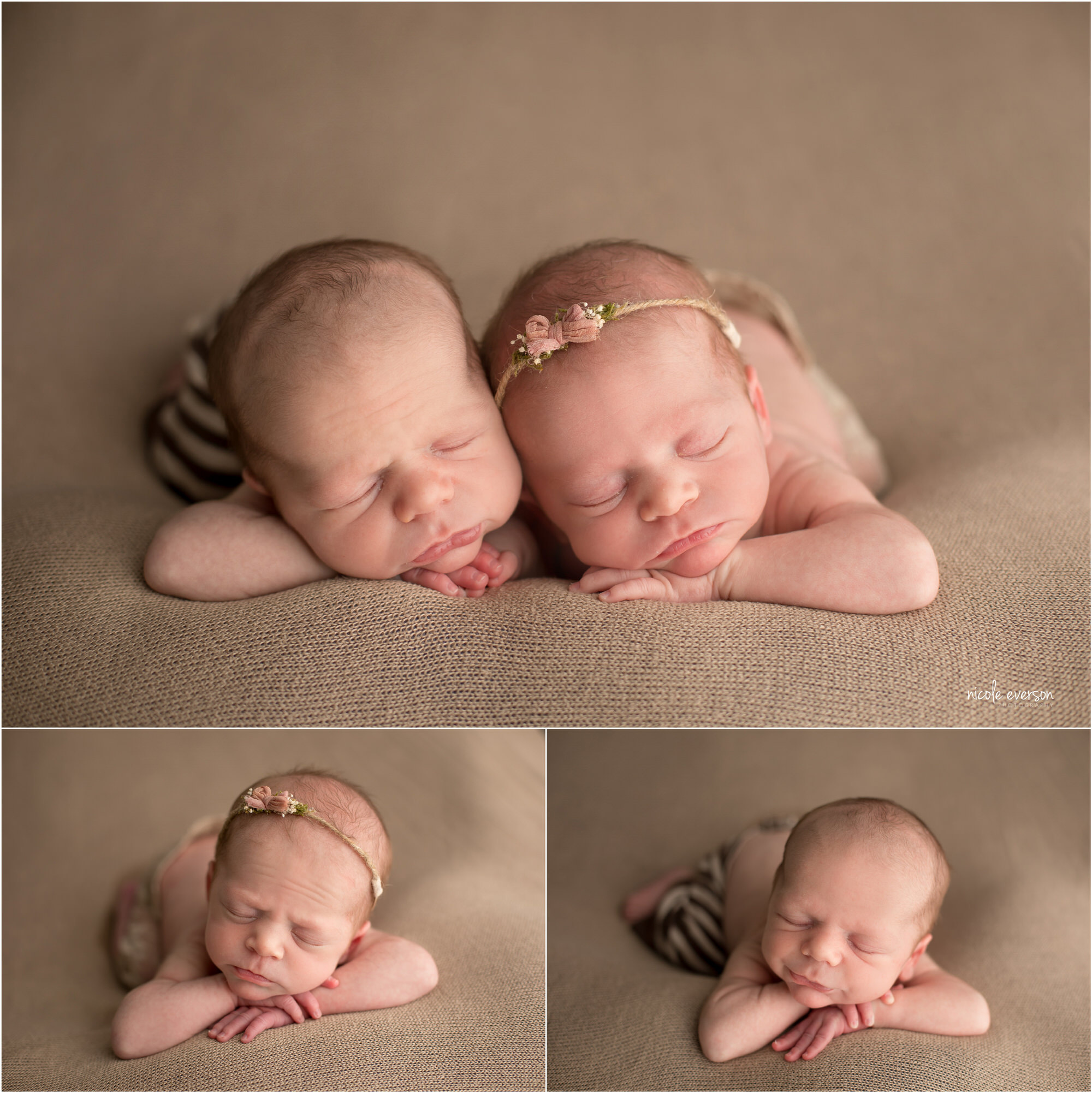 Newborn twins snuggled together at Nicole Everson Photography. Sister is wearing cream-colored lace pants and a pink flower headband. Brother is wearing brown and cream striped pants.