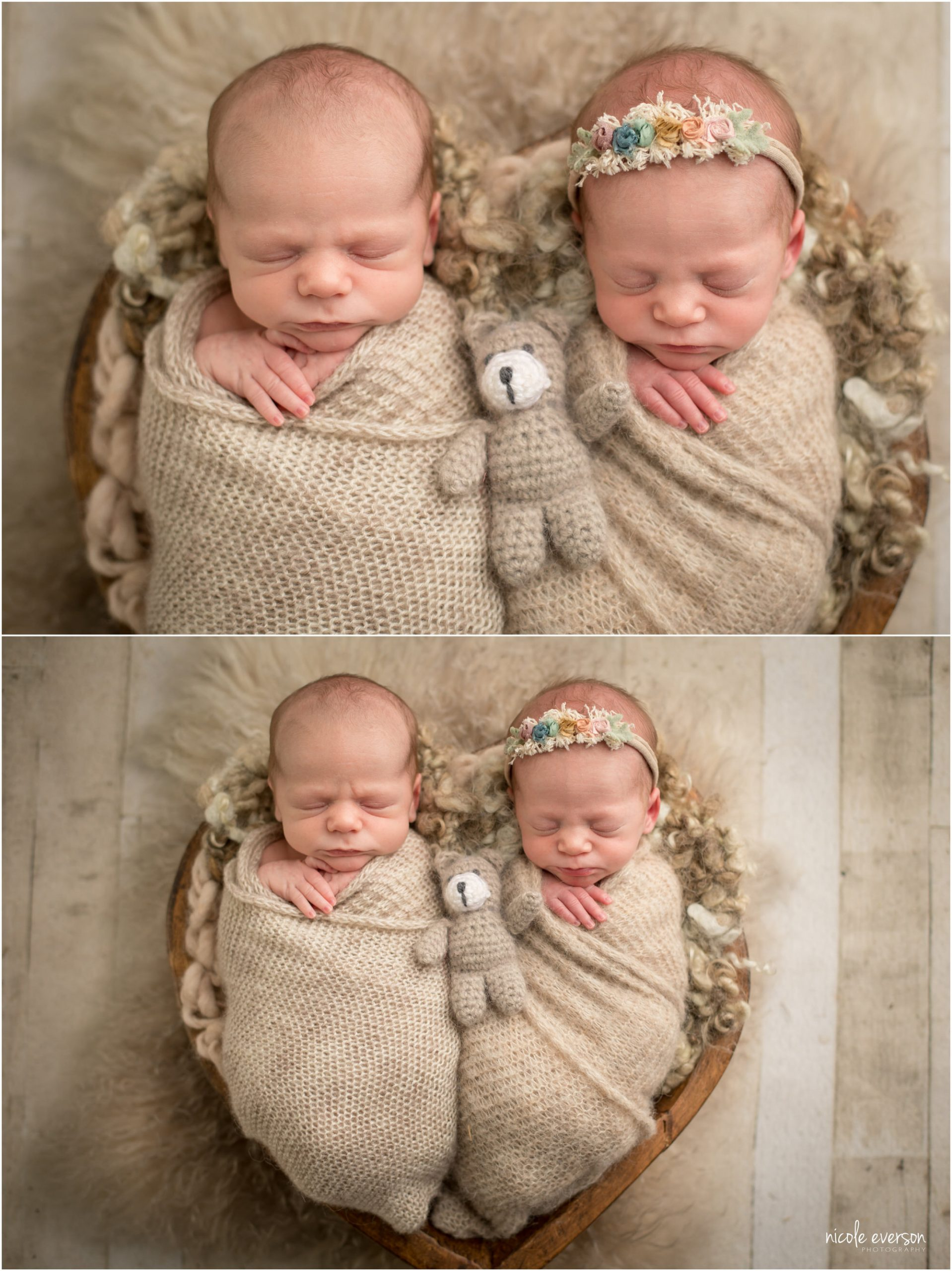 Newborn twins wrapped in tan blankets at Nicole Everson Photography, Destin Newborn Photographer.