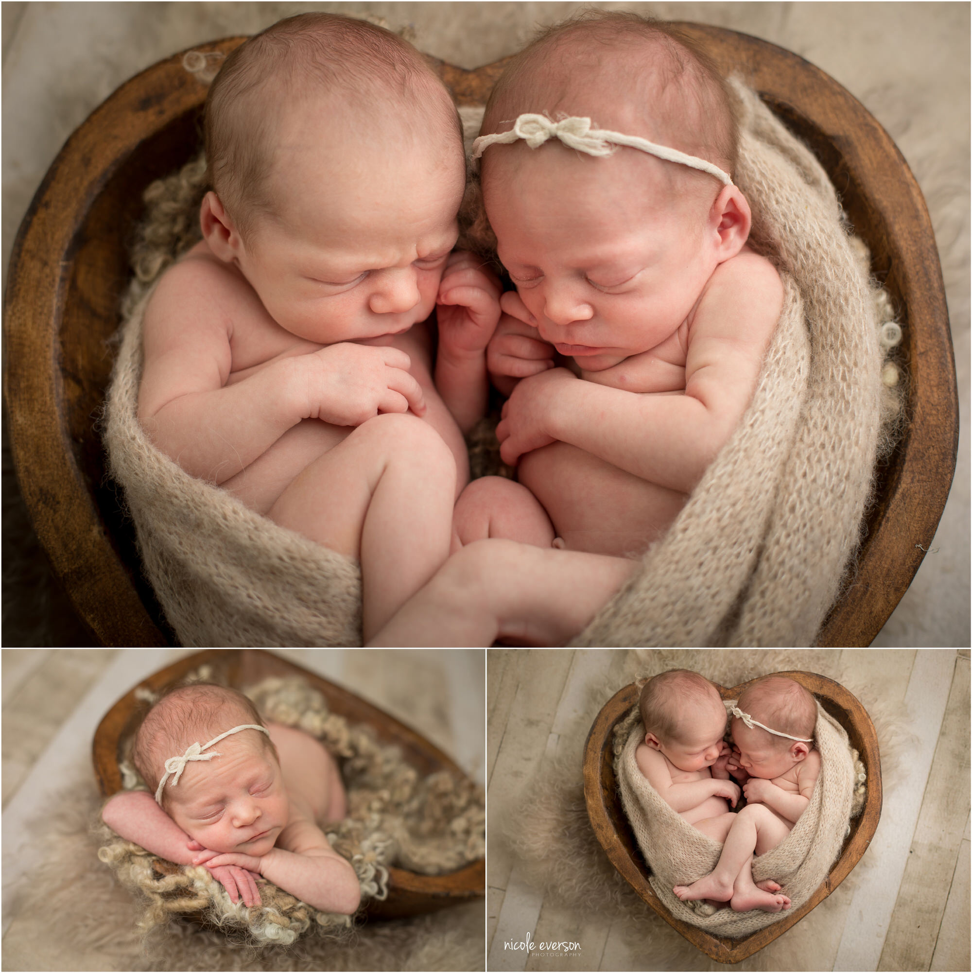 Newborn twins in a heart-shaped bowl, wrapped in sand-colored blanket.