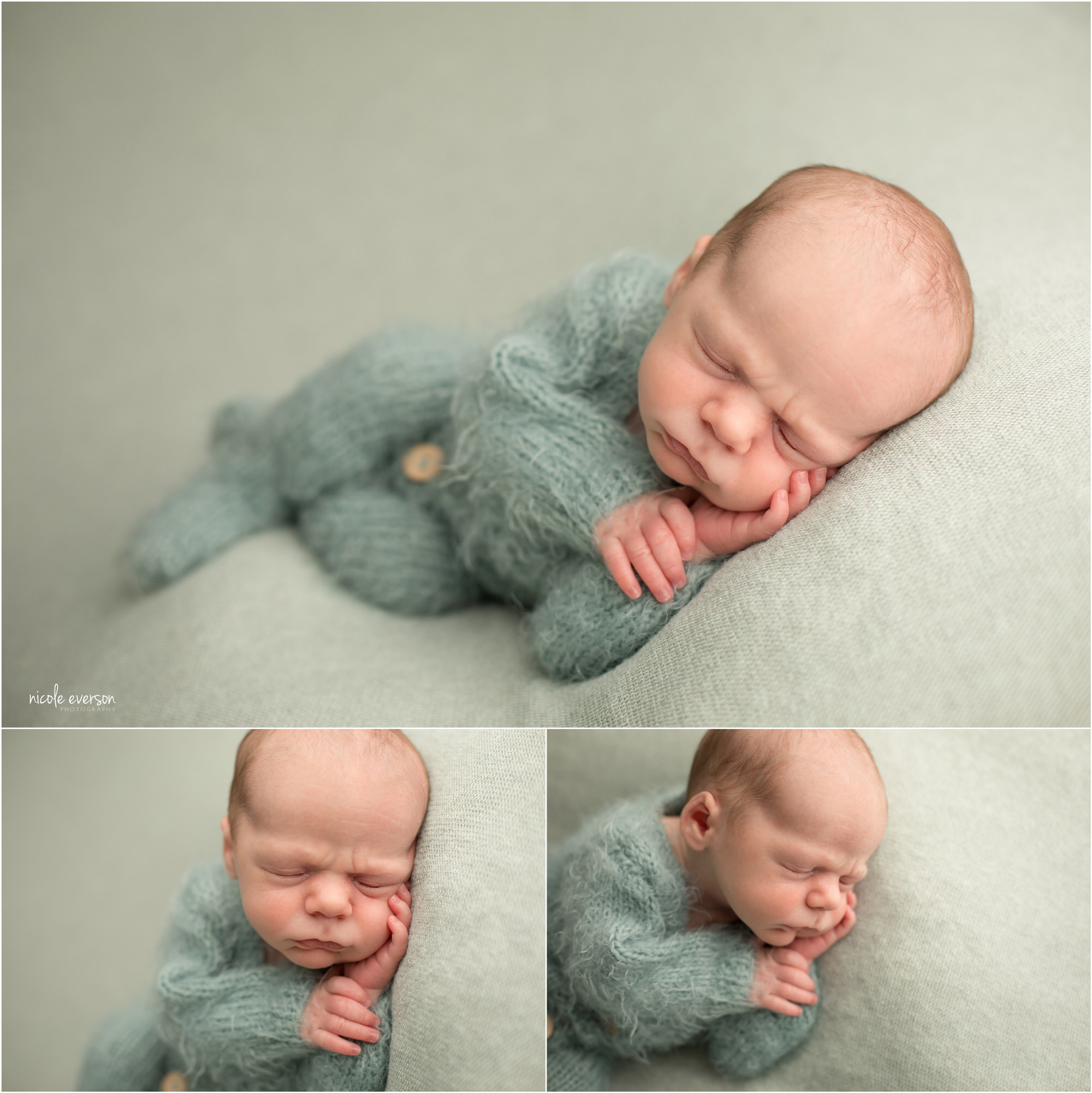 Newborn baby boy in a fuzzy blue outfit photographed at Nicole Everson Photography.