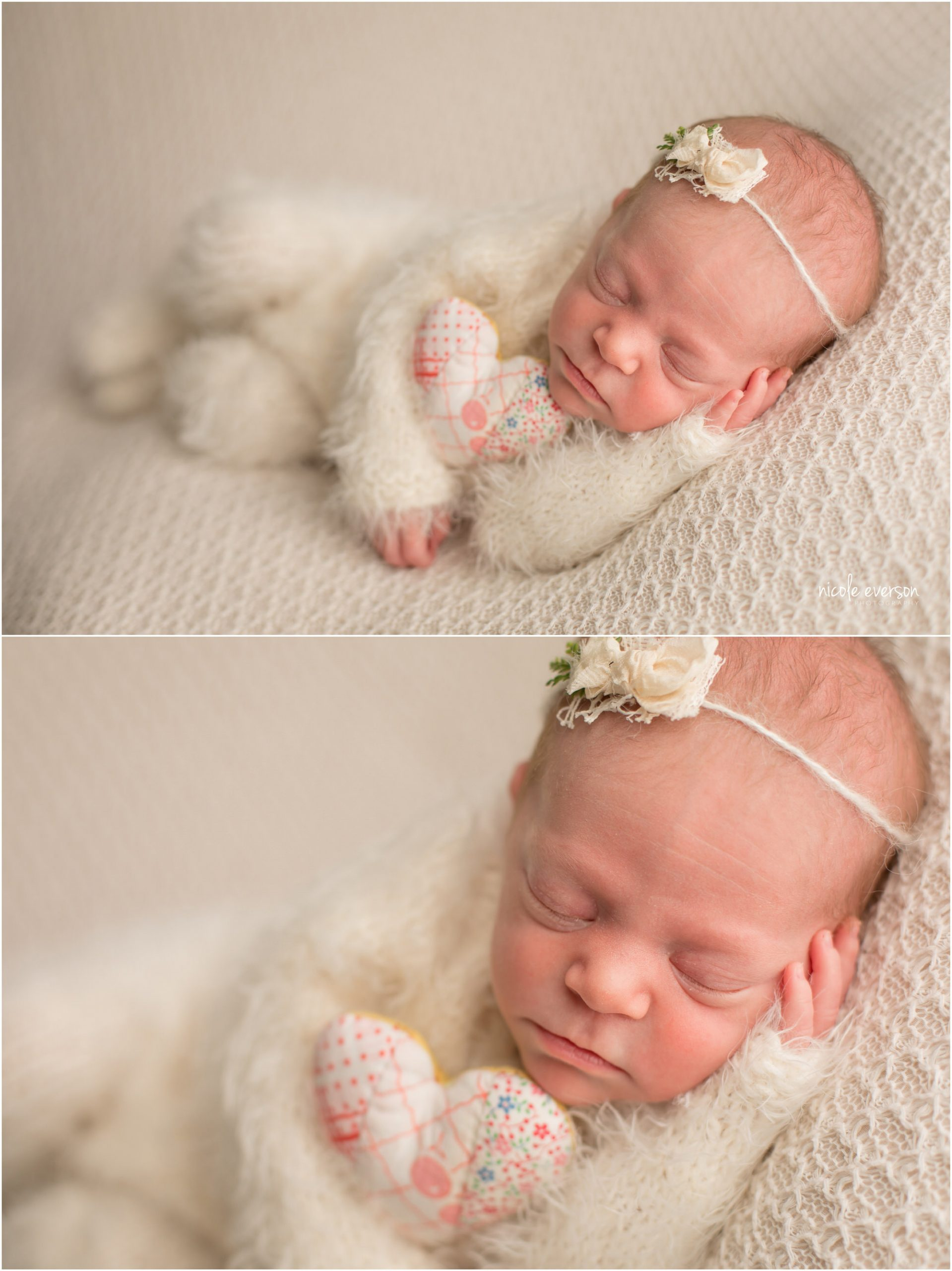 Newborn baby girl in a fuzzy white outfit, laying on a soft white backdrop photographed at Nicole Everson Photography.