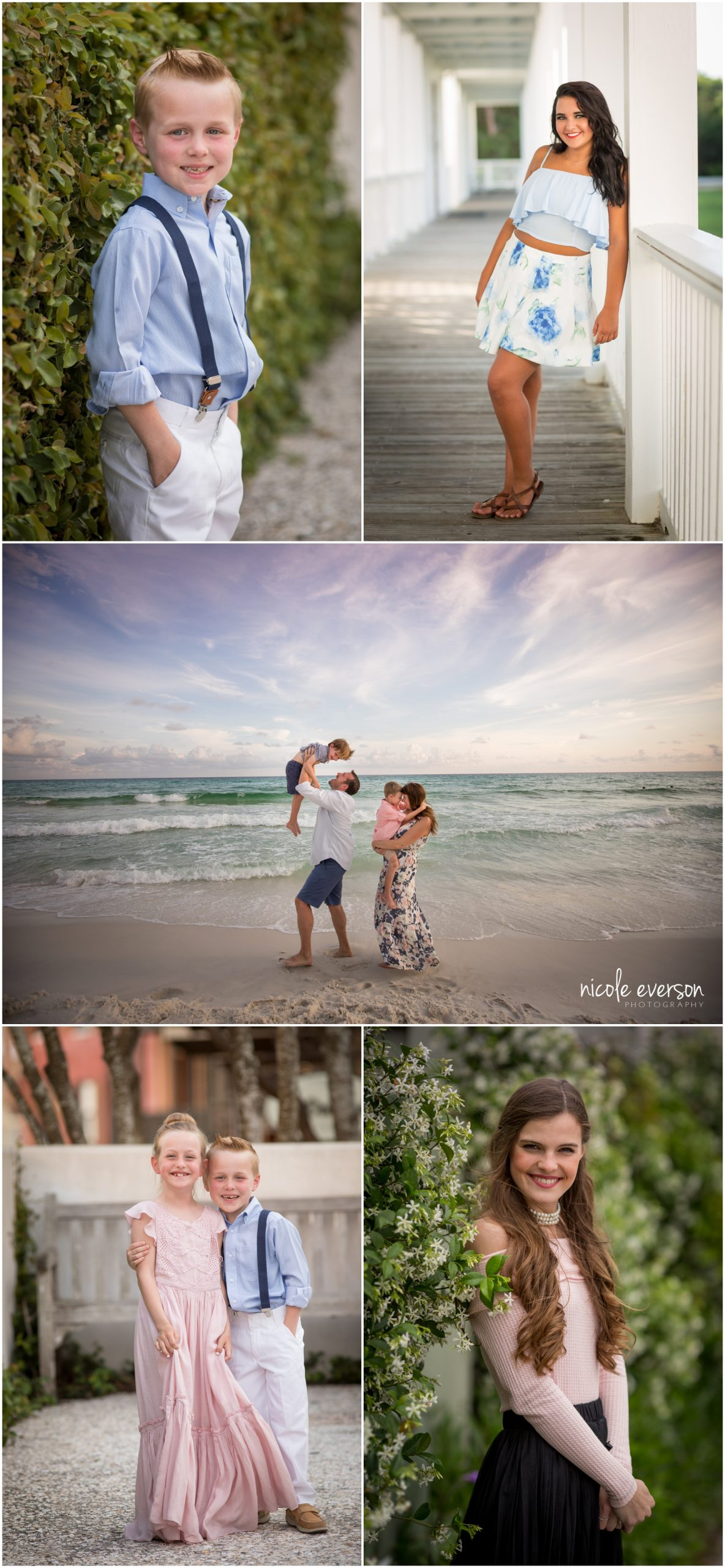 Photos of a family photographed in Alys Beach, and seniors photographed around town