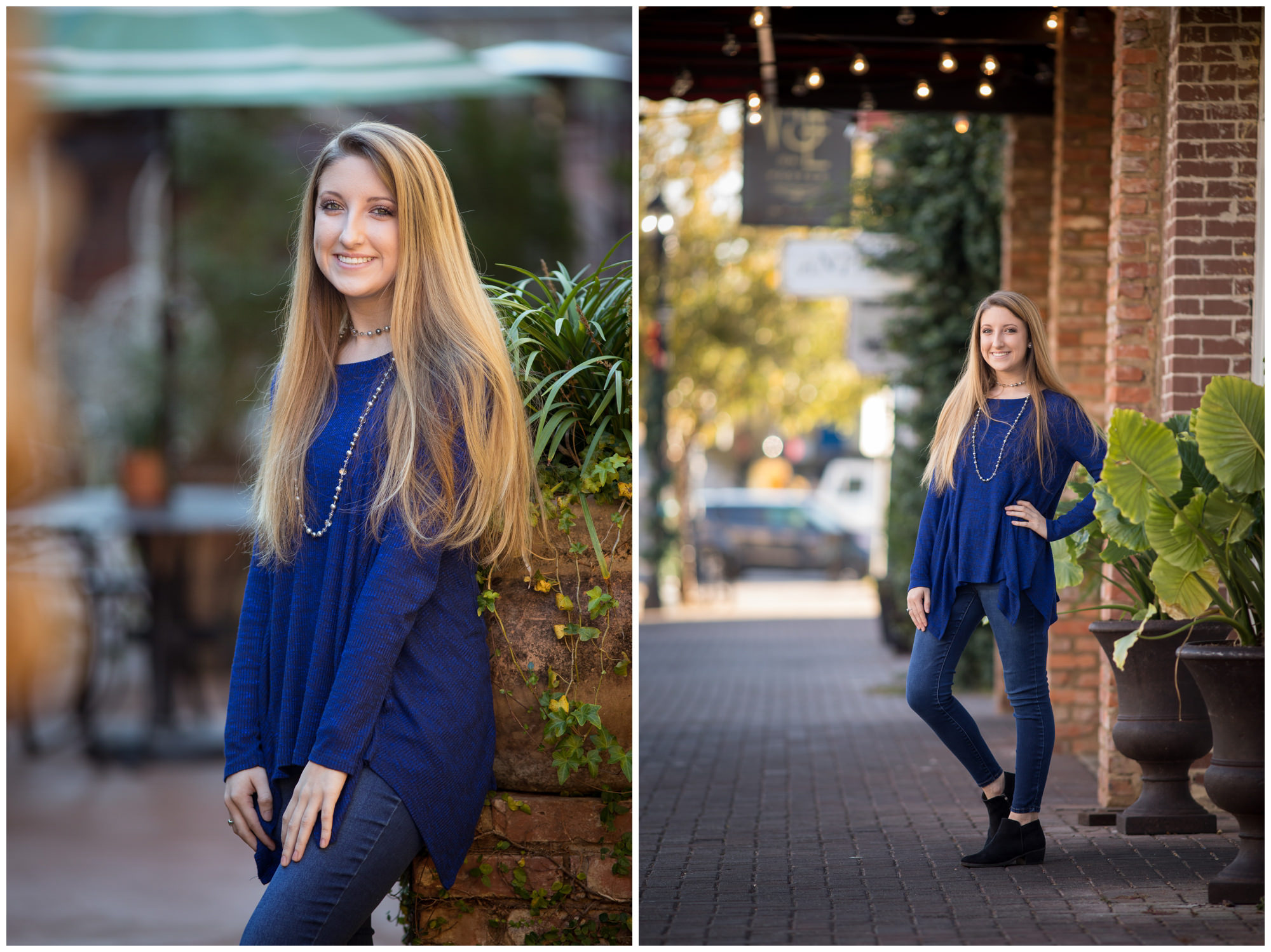 Senior portraits on Foster street in downtown Dothan, AL. Nicole Everson Photography. Dothan senior photographer.