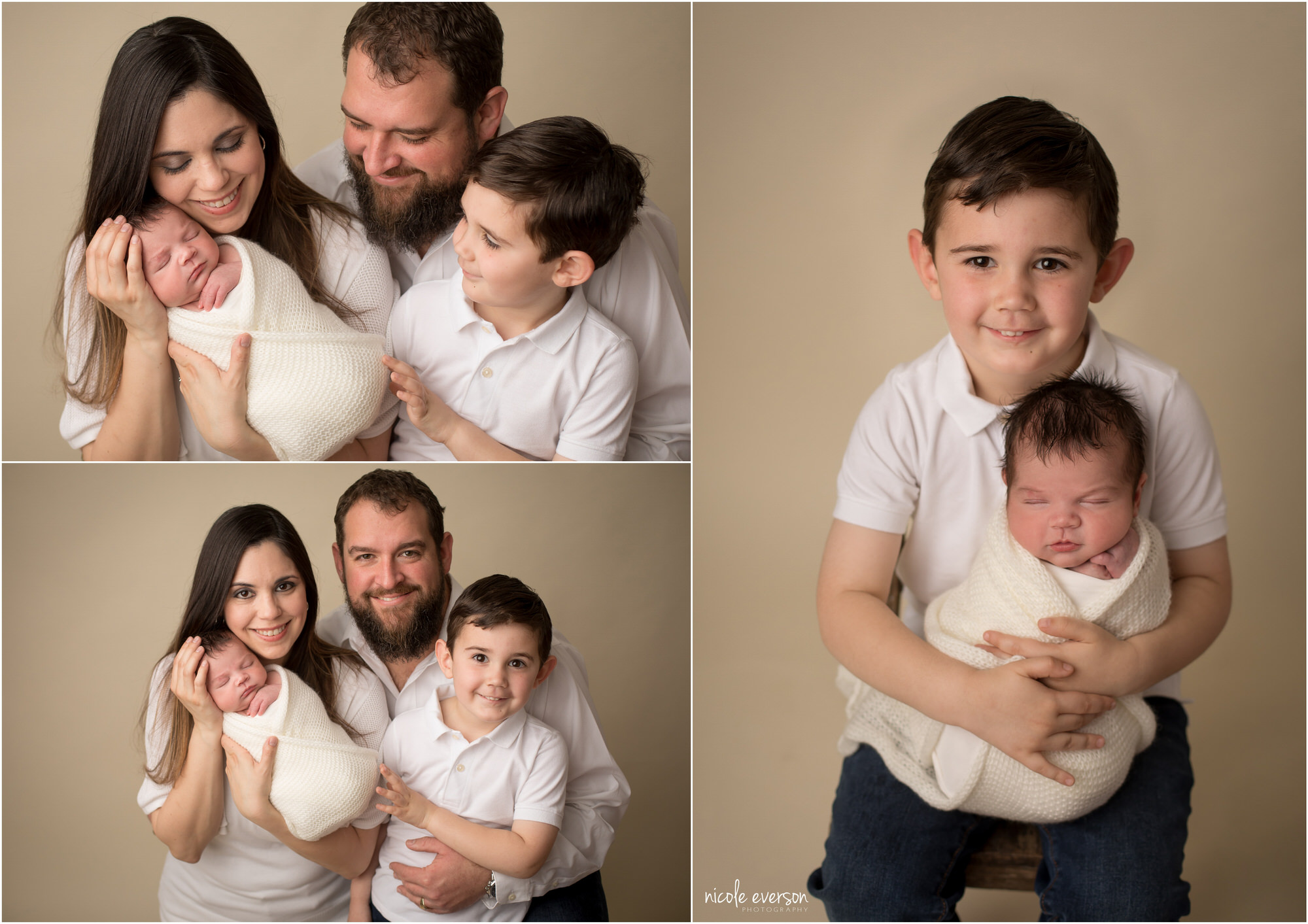 family newborn portraits on cream backdrop
