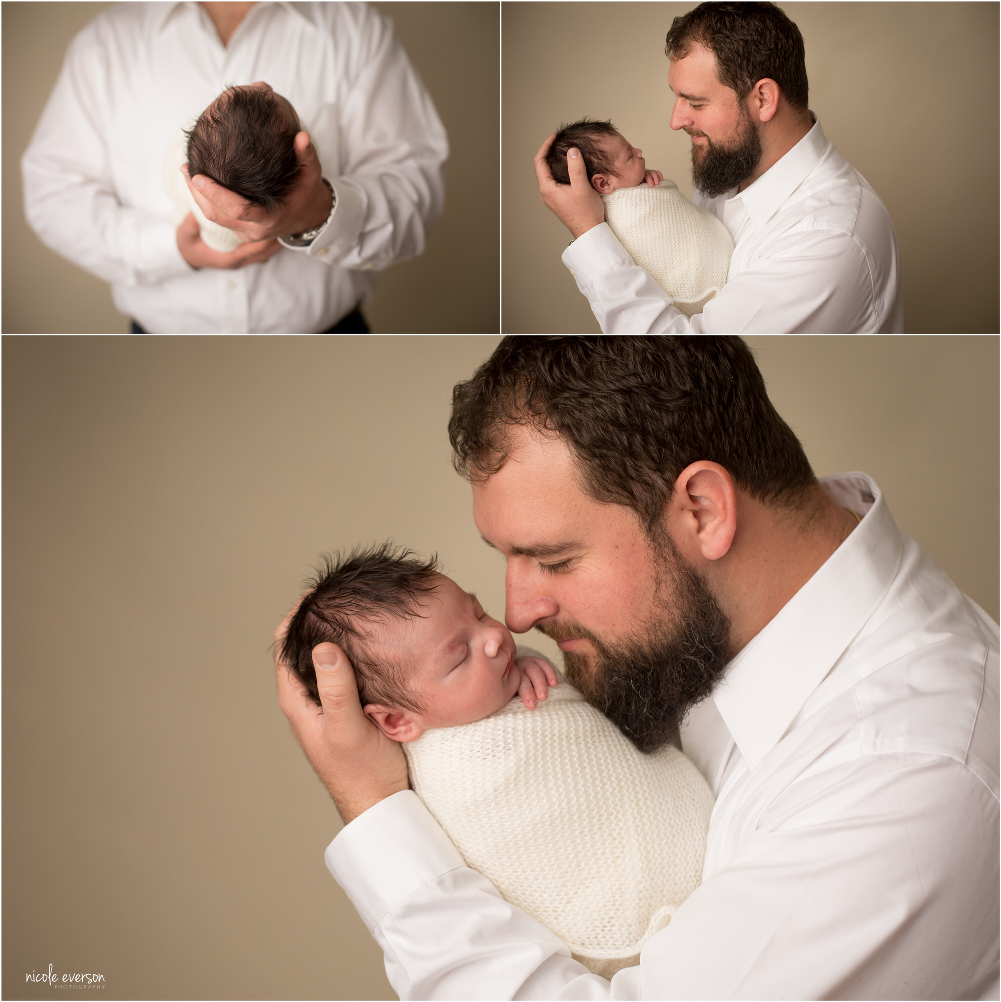 pictures of dad holding baby at Nicole Everson Photography studio