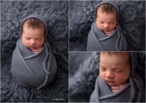 little baby boy photographed wrapped in a blue blanket