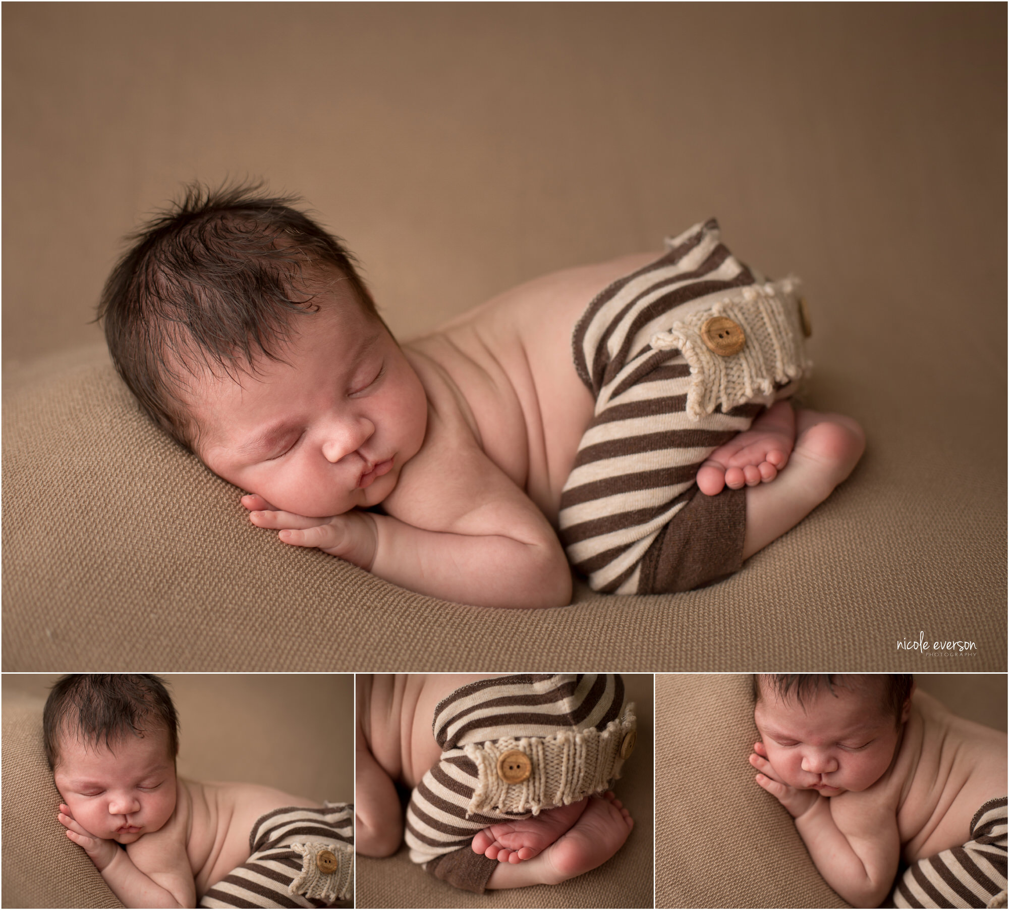 newborn photographed sleeping on a light brown blanket with striped pants