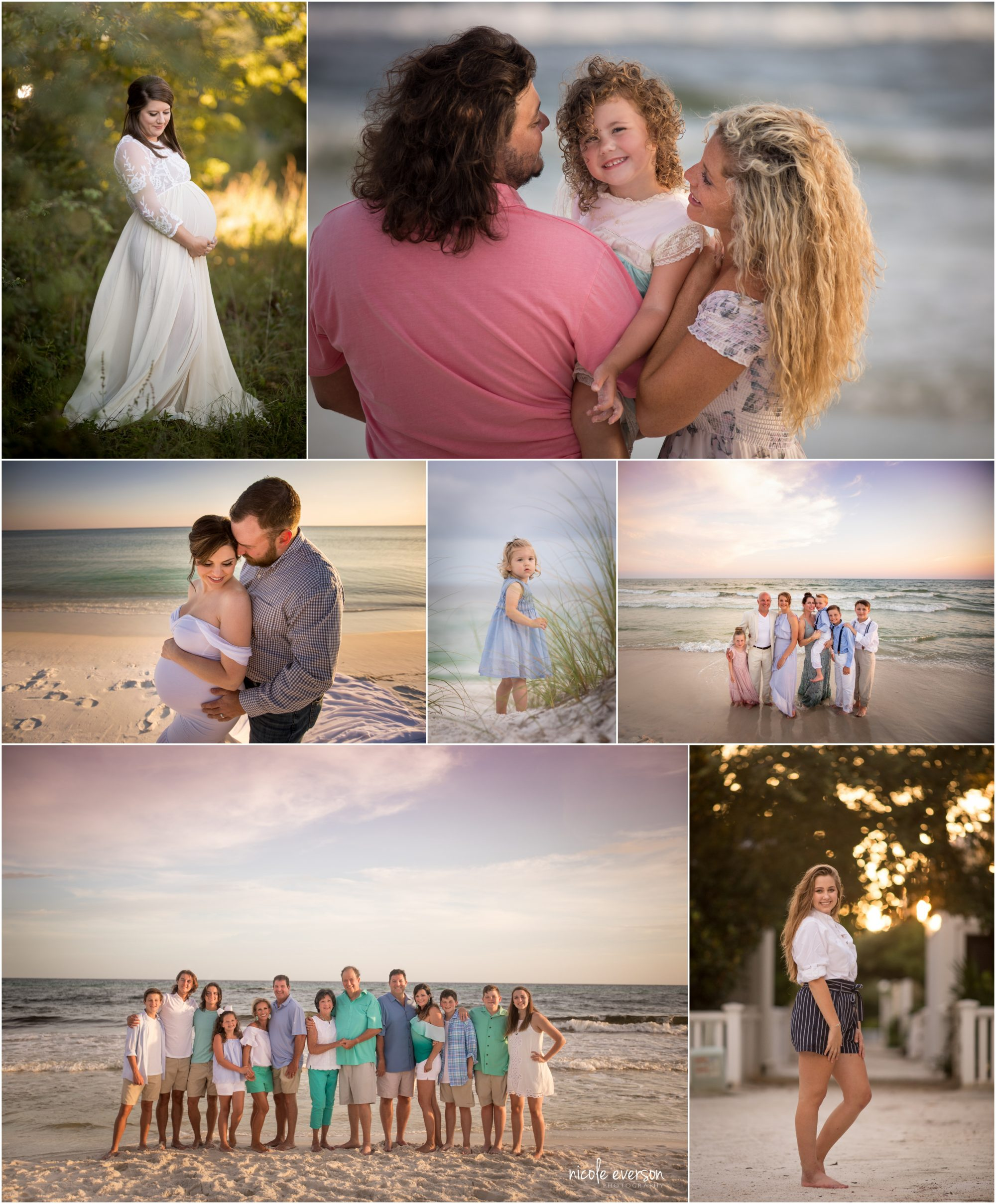 families, and pregnant woman, and a little girl photographed in Grayton beach Florida