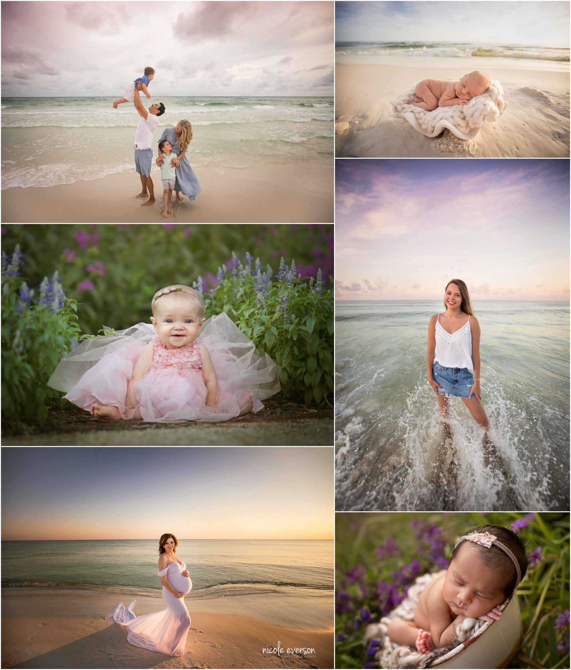 Santa Rosa Beach photographer Nicole Everson Photography photographing newborn, beach maternity, senior, and babies