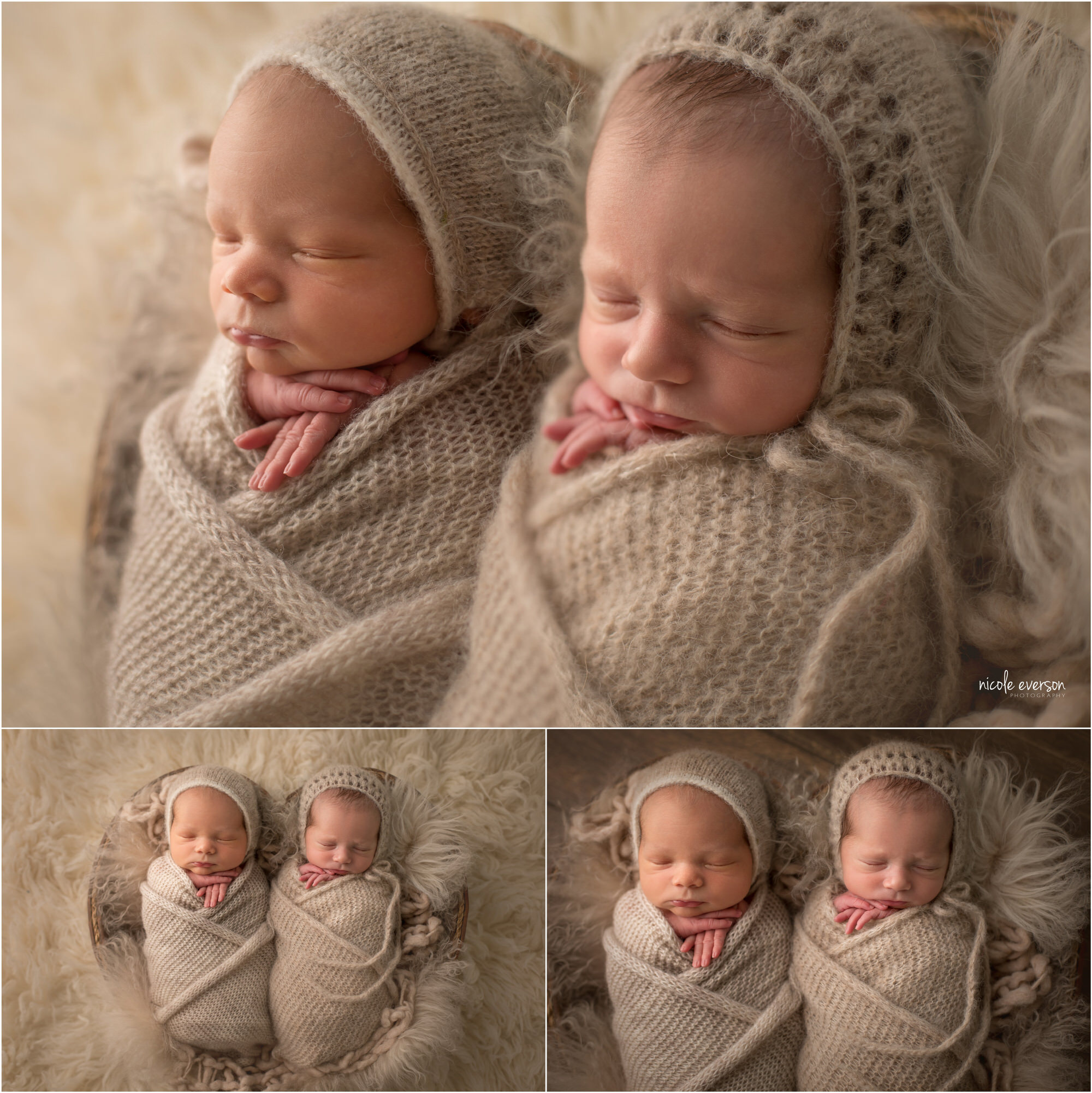 Twin boy and girl wrapped in light tan blankets and wearing soft hats, laying on a soft blanket. Santa Rosa Beach Newborn Photographer. Nicole Everson Photography.