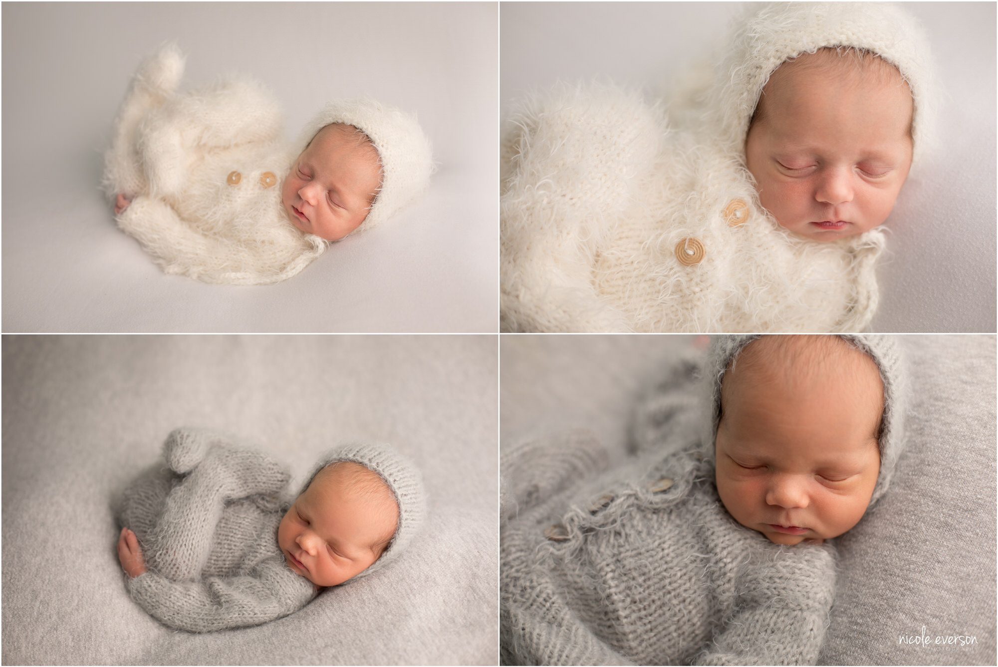 Twin baby boy in a fuzzy blue outfit. Twin baby girl in a fuzzy white outfit. Santa Rosa Newborn Photographer. Nicole Everson Photography.