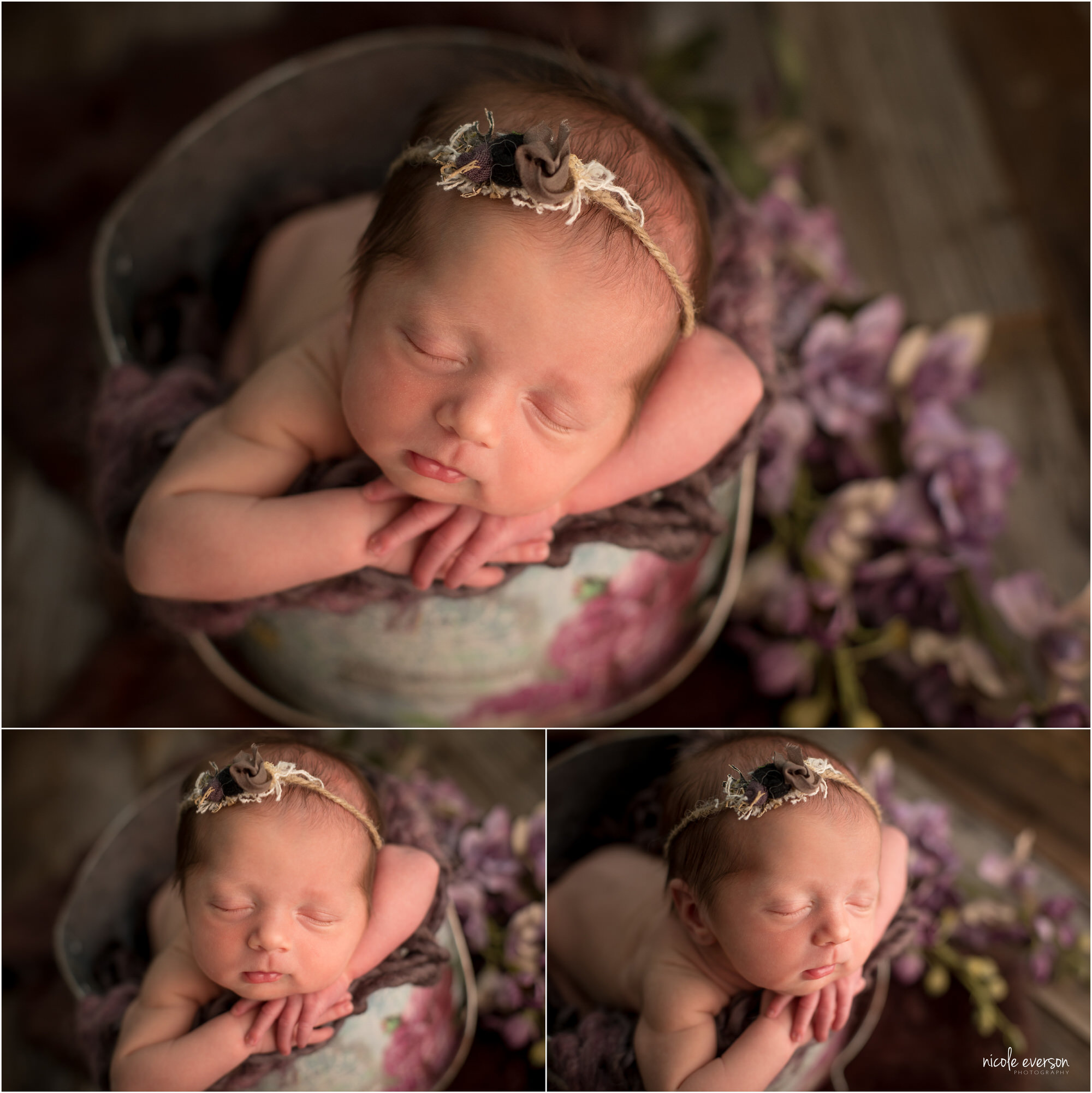 Baby girl twin in a silver pail laying on a soft purple blanket, surrounded by purple flowers. She is wearing a flower headband. Santa Rosa Newborn Photography. Nicole Everson Photography.