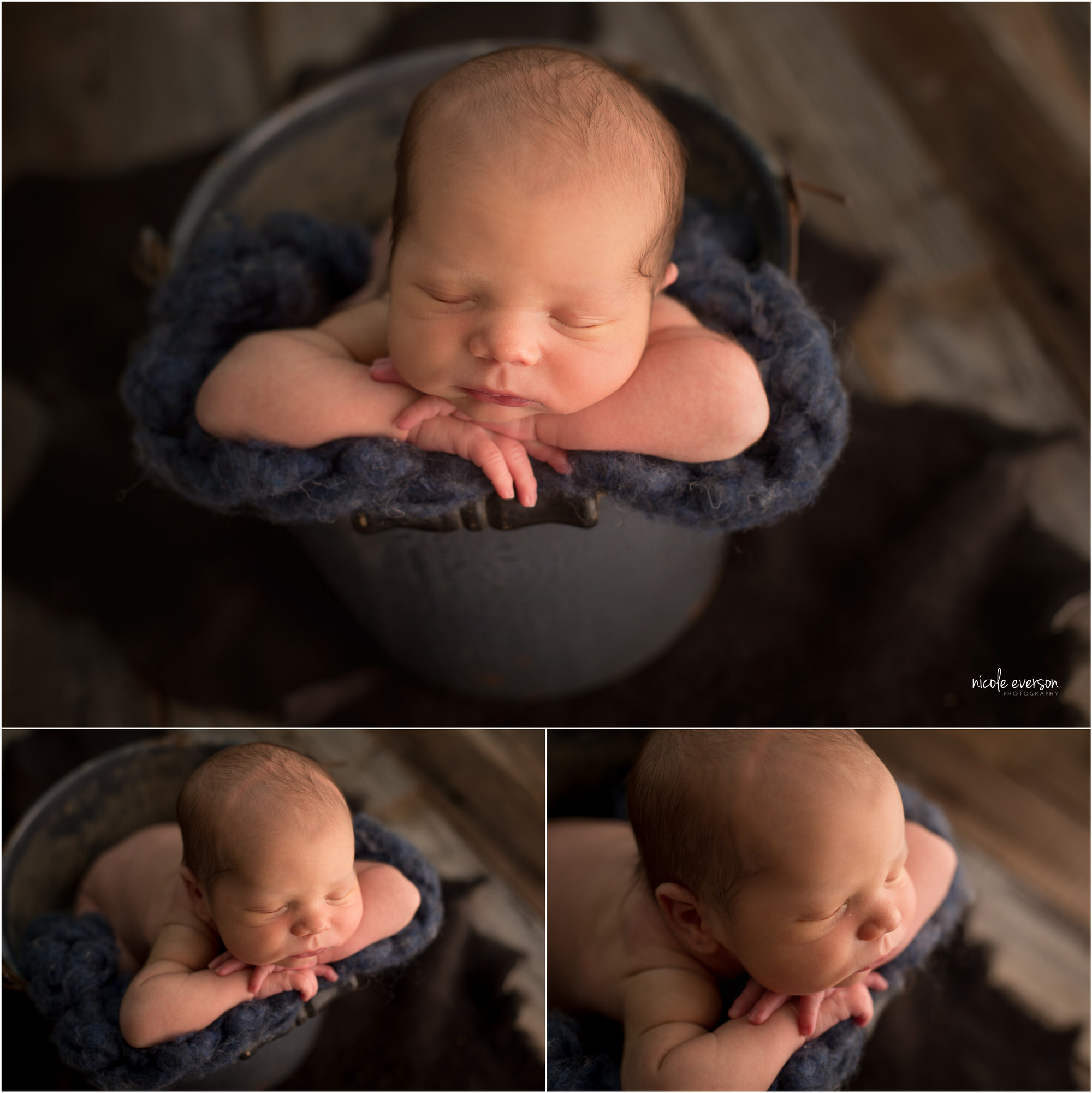 Twin baby boy laying on a soft blue blanket in a pail. Santa Rosa Newborn Photography. Nicole Everson Photography.