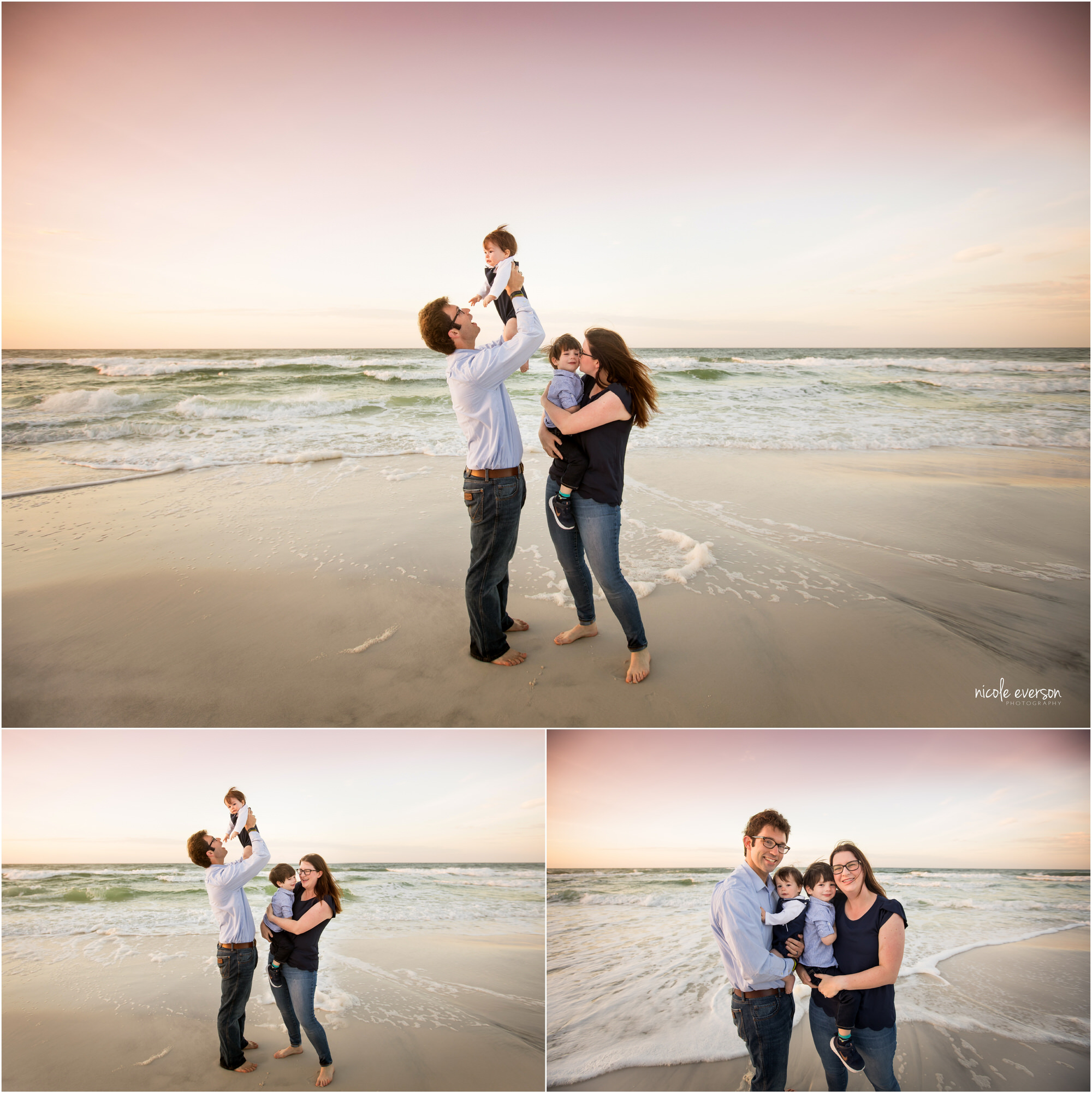 Family of four playing on Seaside Beach with Nicole Everson Photography.