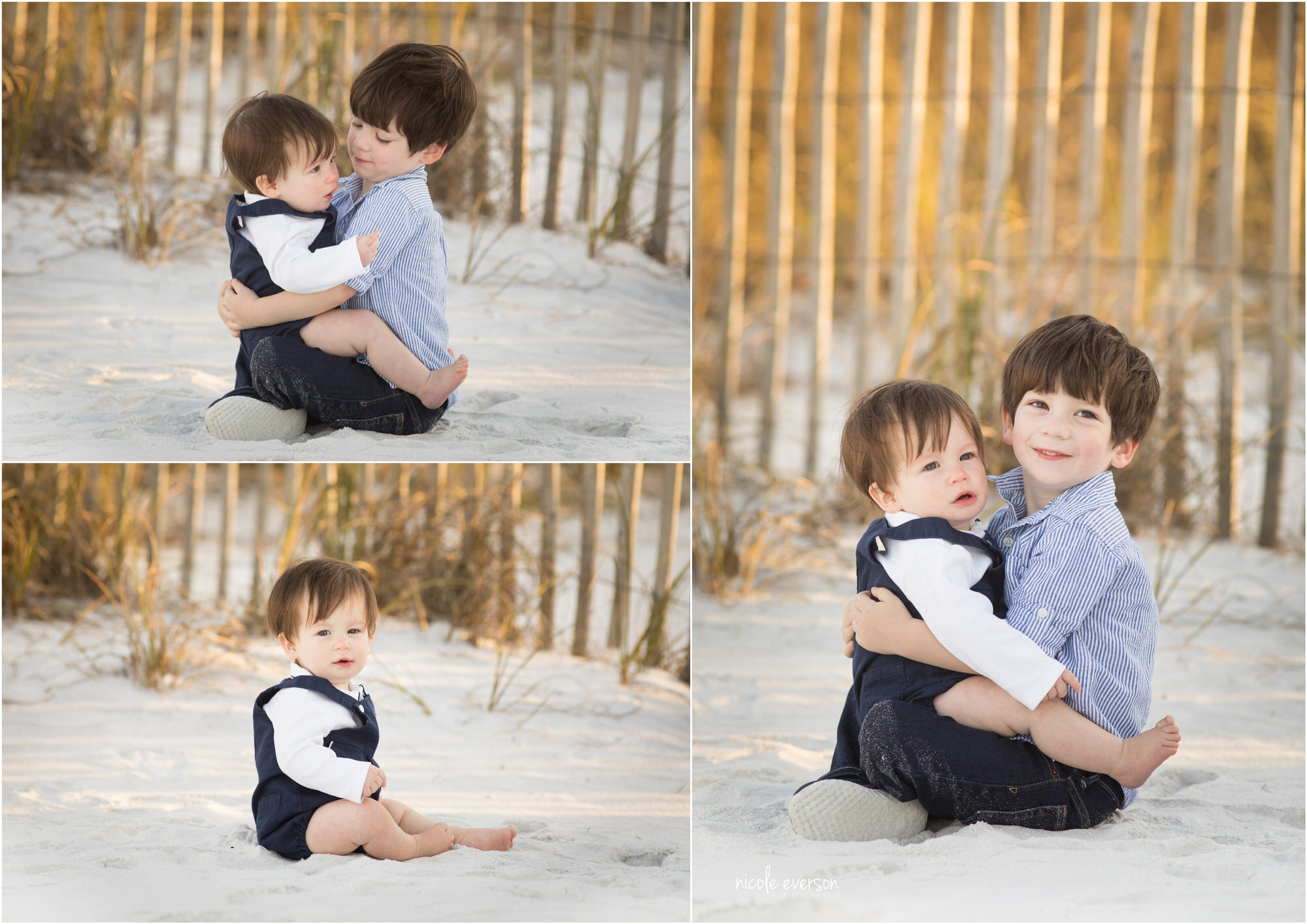 Brothers play together at Seaside Beach. Photographer by Nicole Everson Photography, Seaside Family Photographer.