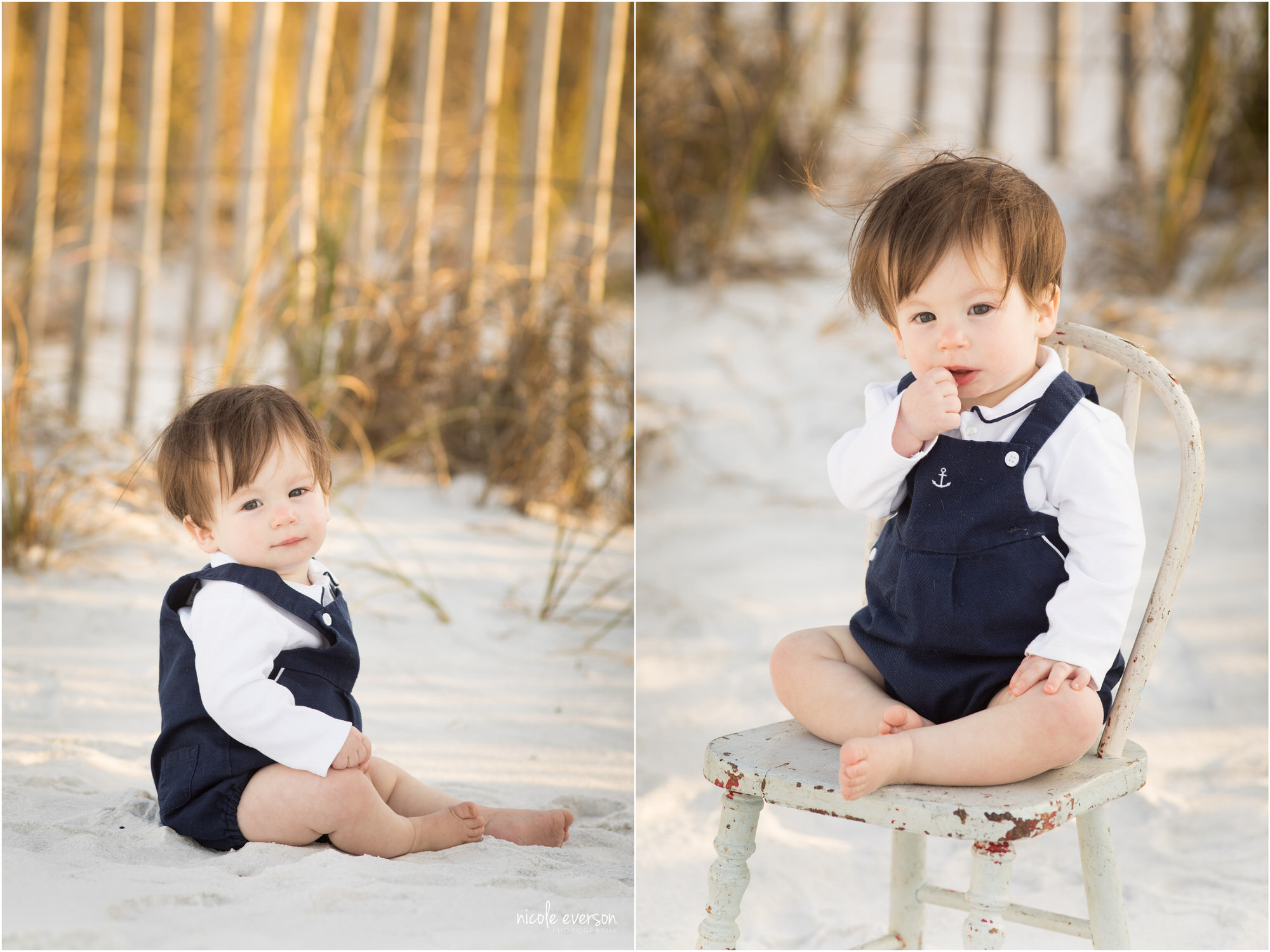 One year old baby boy in overalls plays on Seaside Beach. Photographed by Nicole Everson Photography.