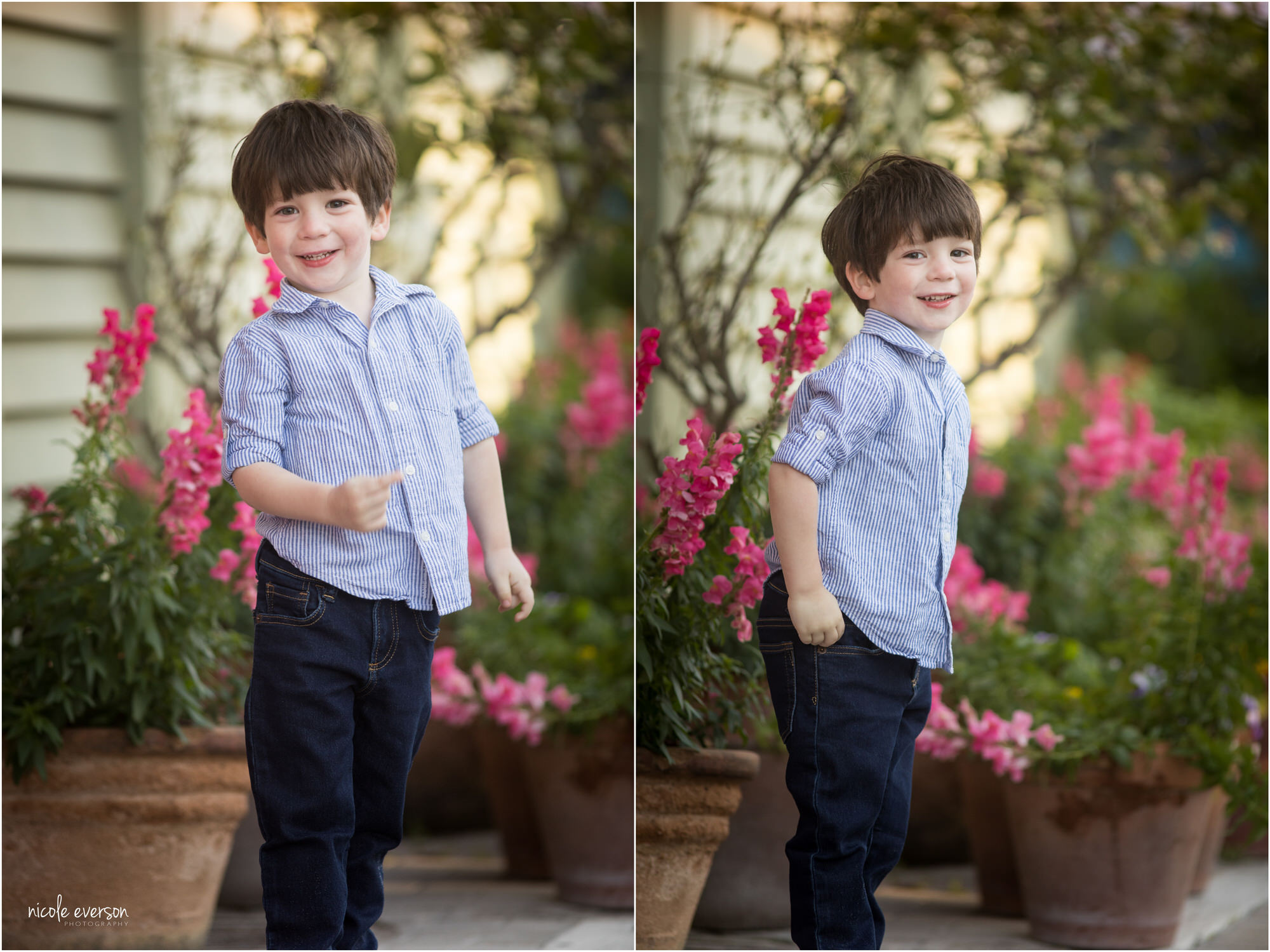 Four year old boy in striped shirt and jeans at Seaside Beach Garden. Nicole Everson Photography. Seaside Beach Photgrapher.