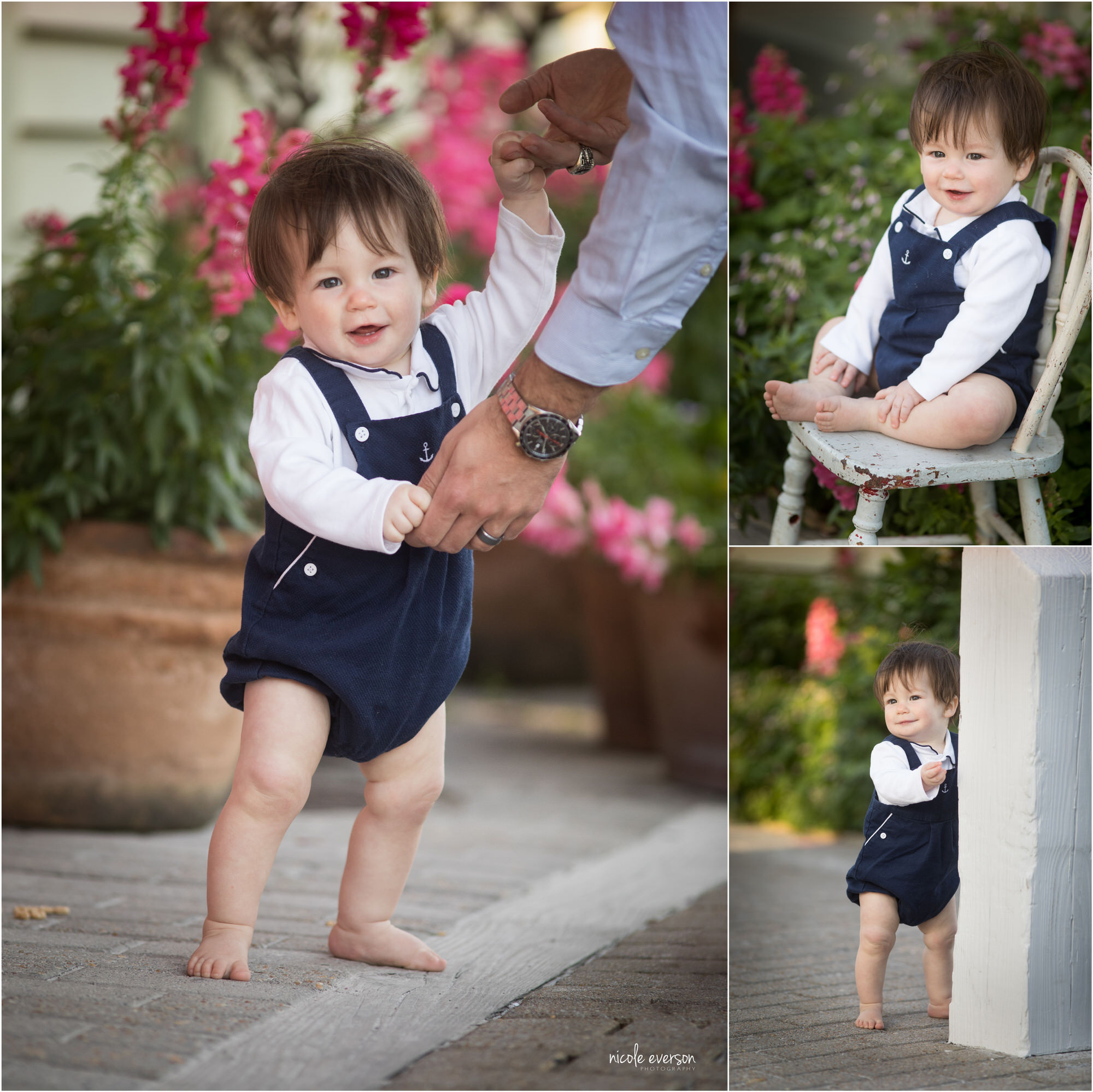 One year old baby boy in blue overalls at Seaside Beach Gardens. Nicole Everson Photography. Seaside Beach Photographer.