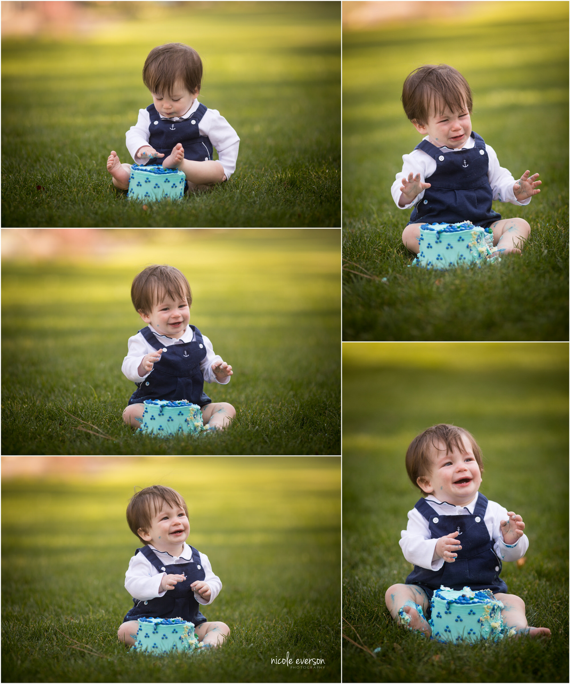 One year old baby boy in blue overalls at Seaside Beach Gardens. Smash cake photographs. Nicole Everson Photography. Seaside Beach Photographer.