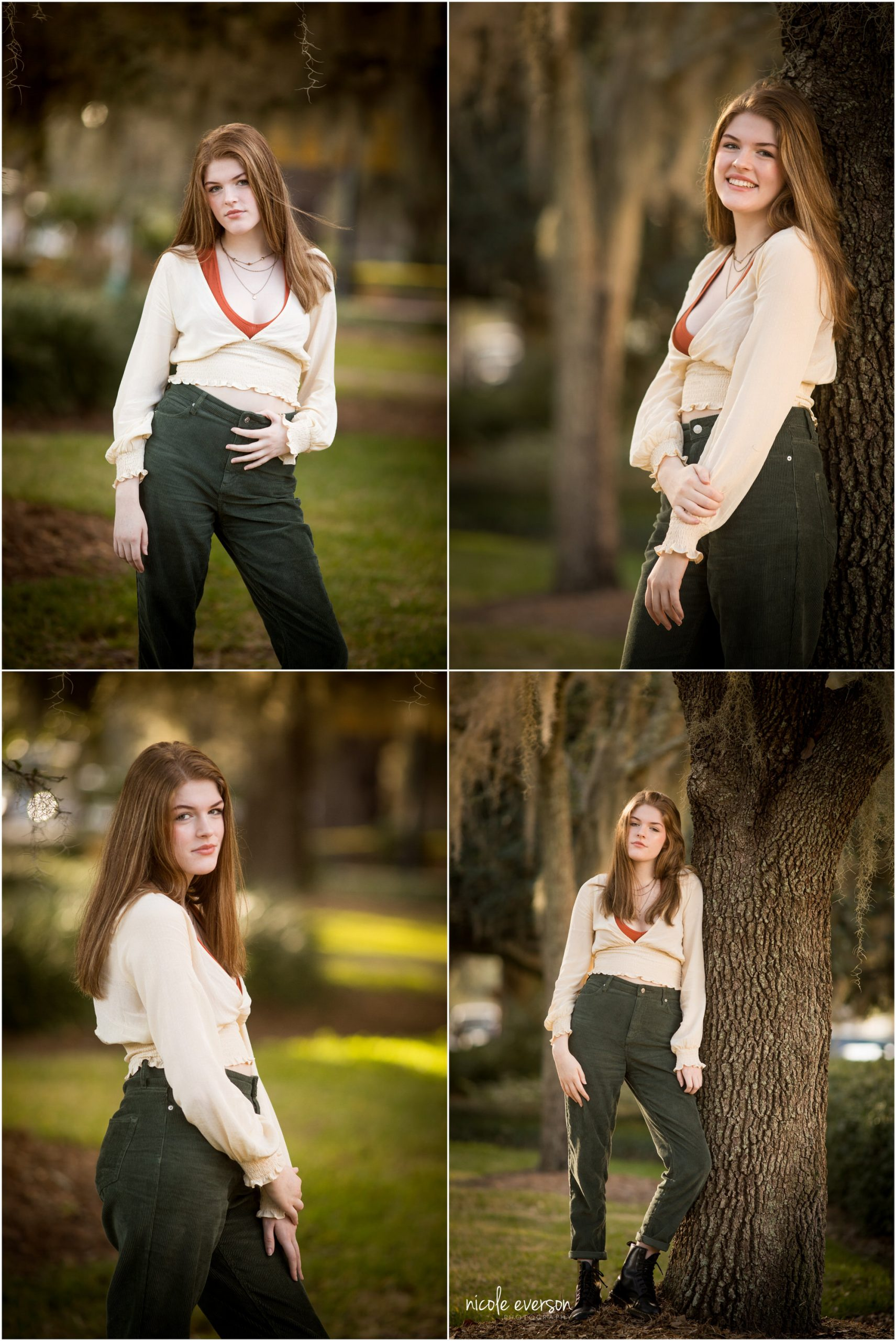 High school senior girl in a cream shirt and jeans, standing next to a tree. Tallahassee Florida Senior Photography. Nicole Everson Photography.