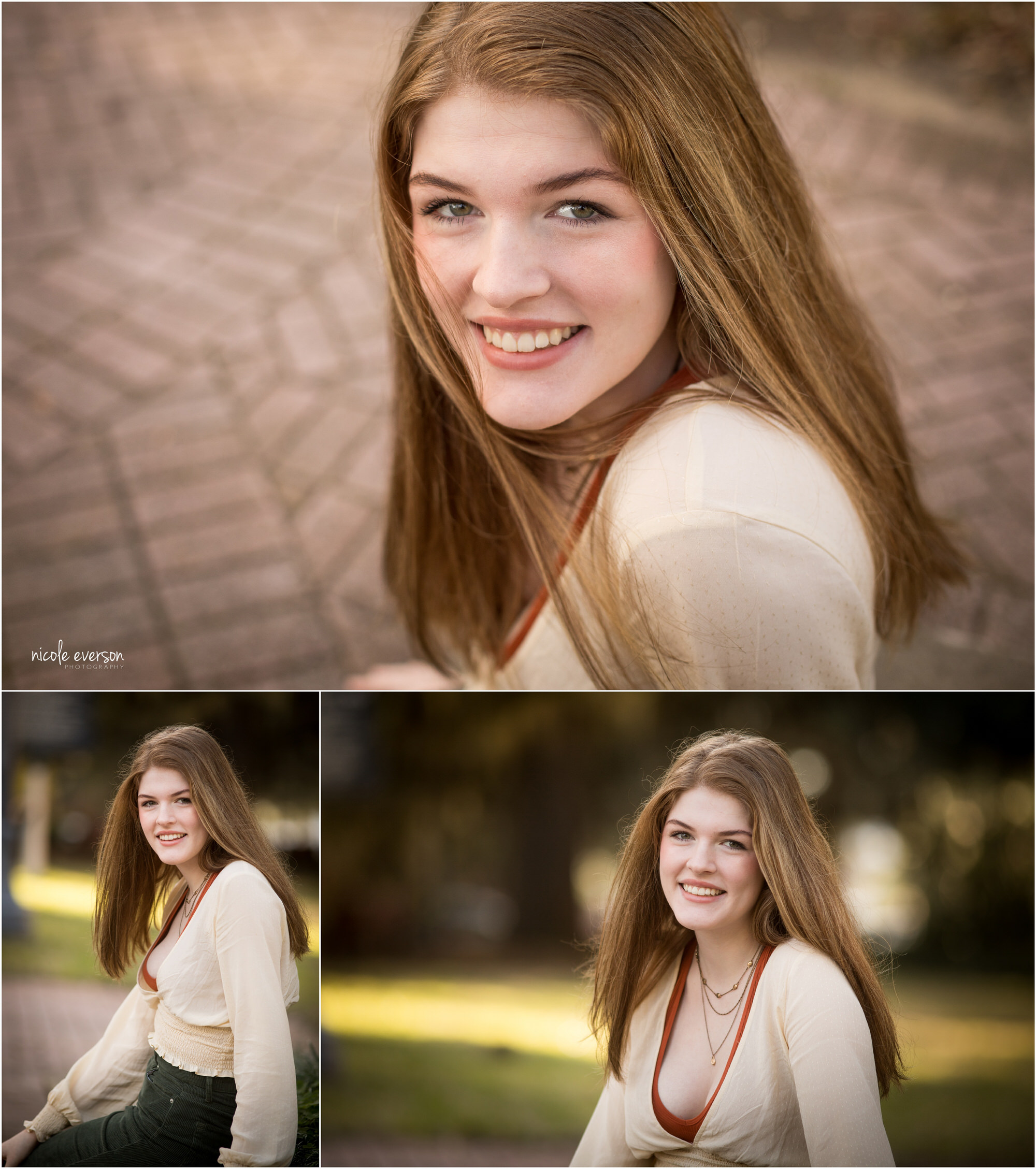 High school senior girl in a cream top and jeans in Tallahassee. Tallahassee Florida Senior Photography by Nicole Everson Photography.