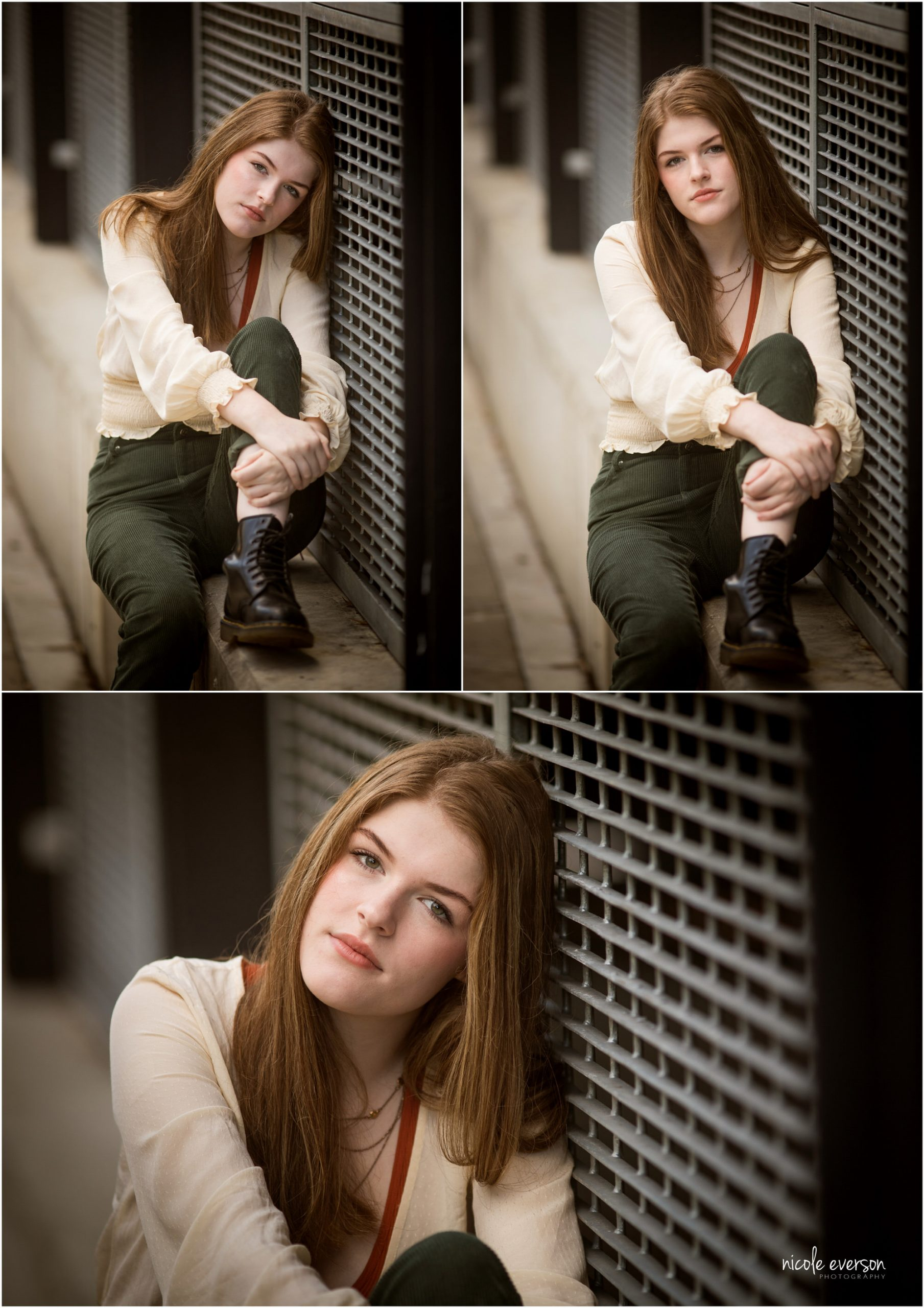 High school senior girl in cream top and jeans leaning against wall in Tallahassee, Florida. Nicole Everson Photography.