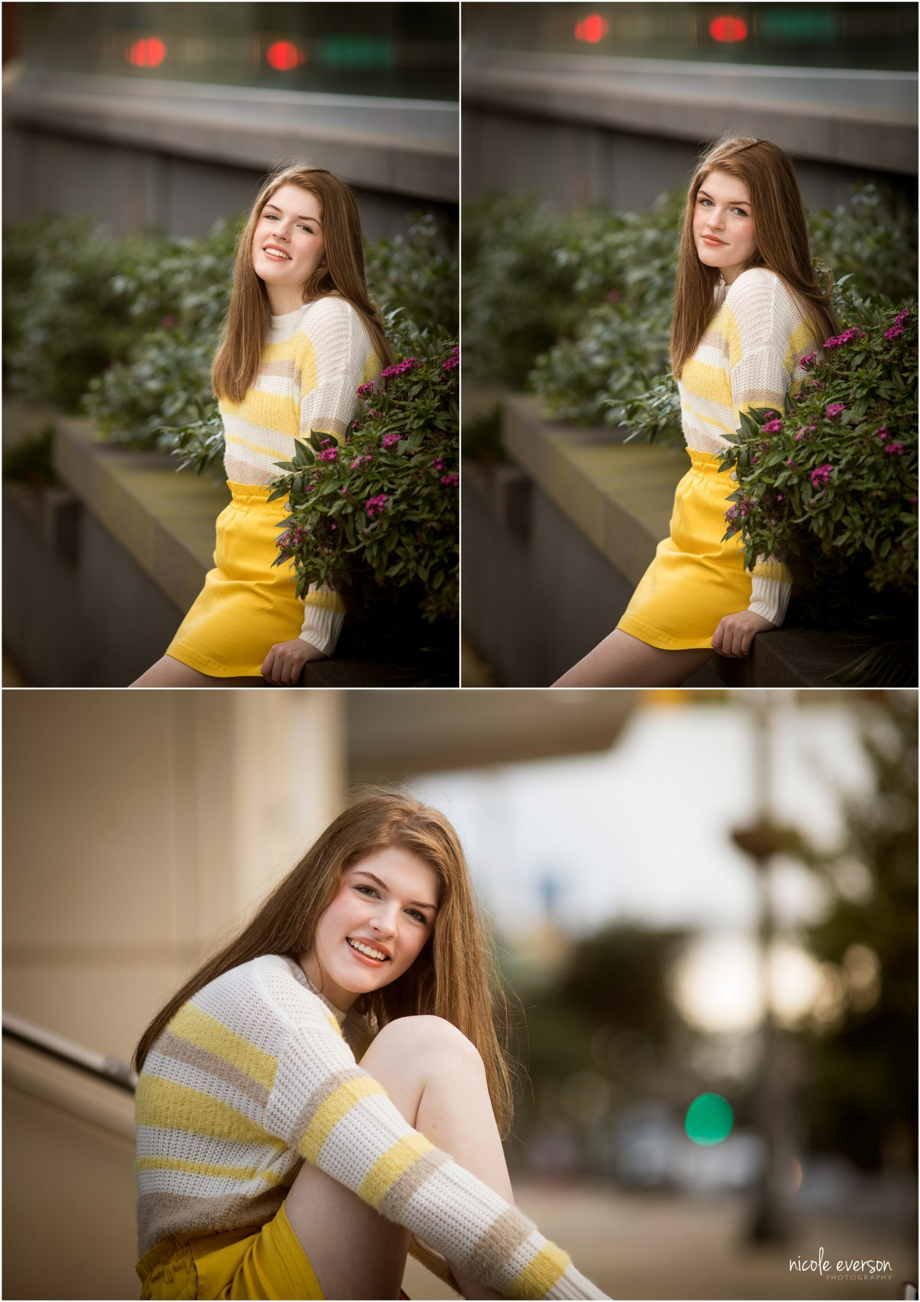 High school senior girl in a striped sweater and yellow skirt with black lace-up boots. Tallahassee, Florida Senior Photography. Nicole Everson Photography.