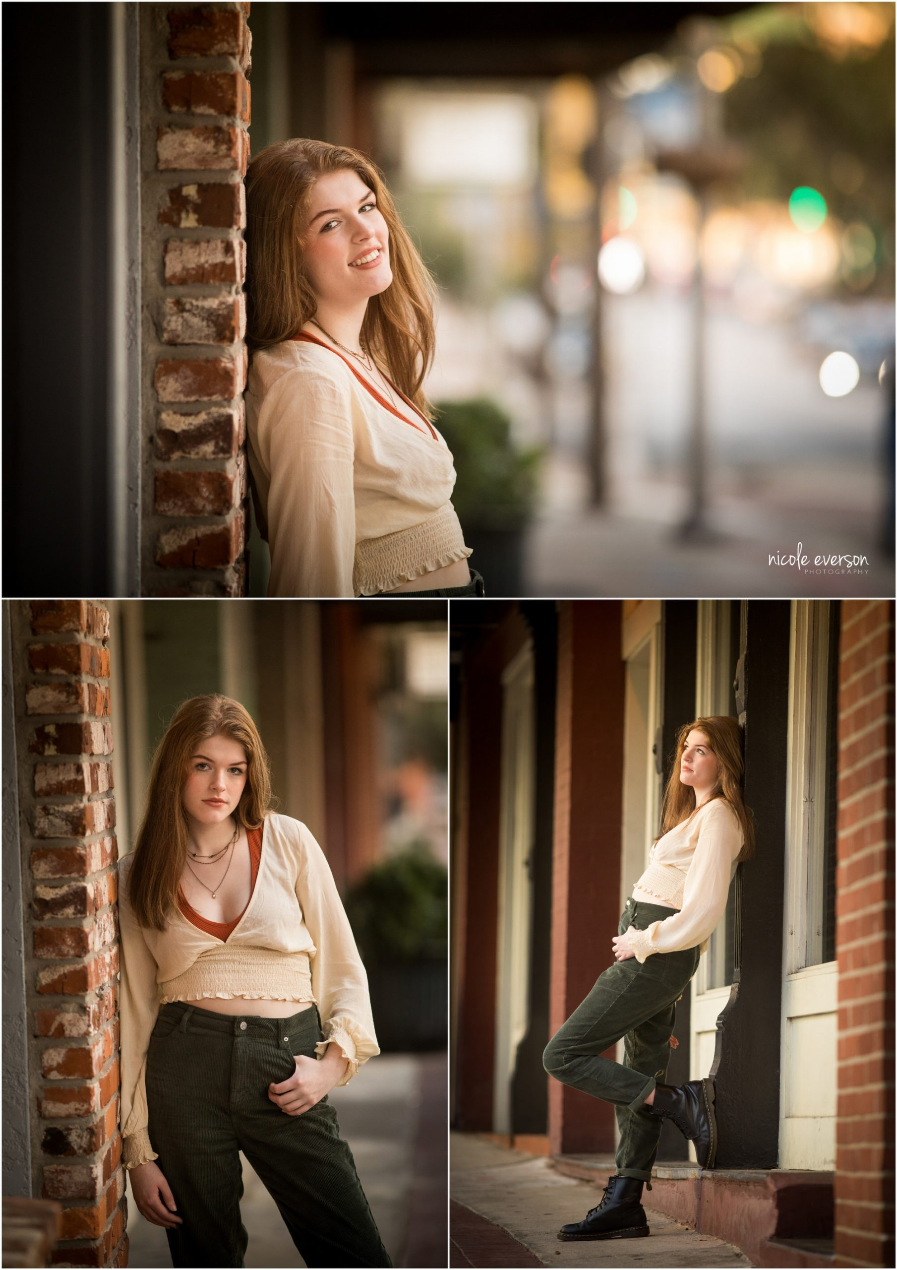 High school senior girl in cream top and jeans, wearing black boots. Tallahassee, Florida Senior Photography by Nicole Everson Photography.