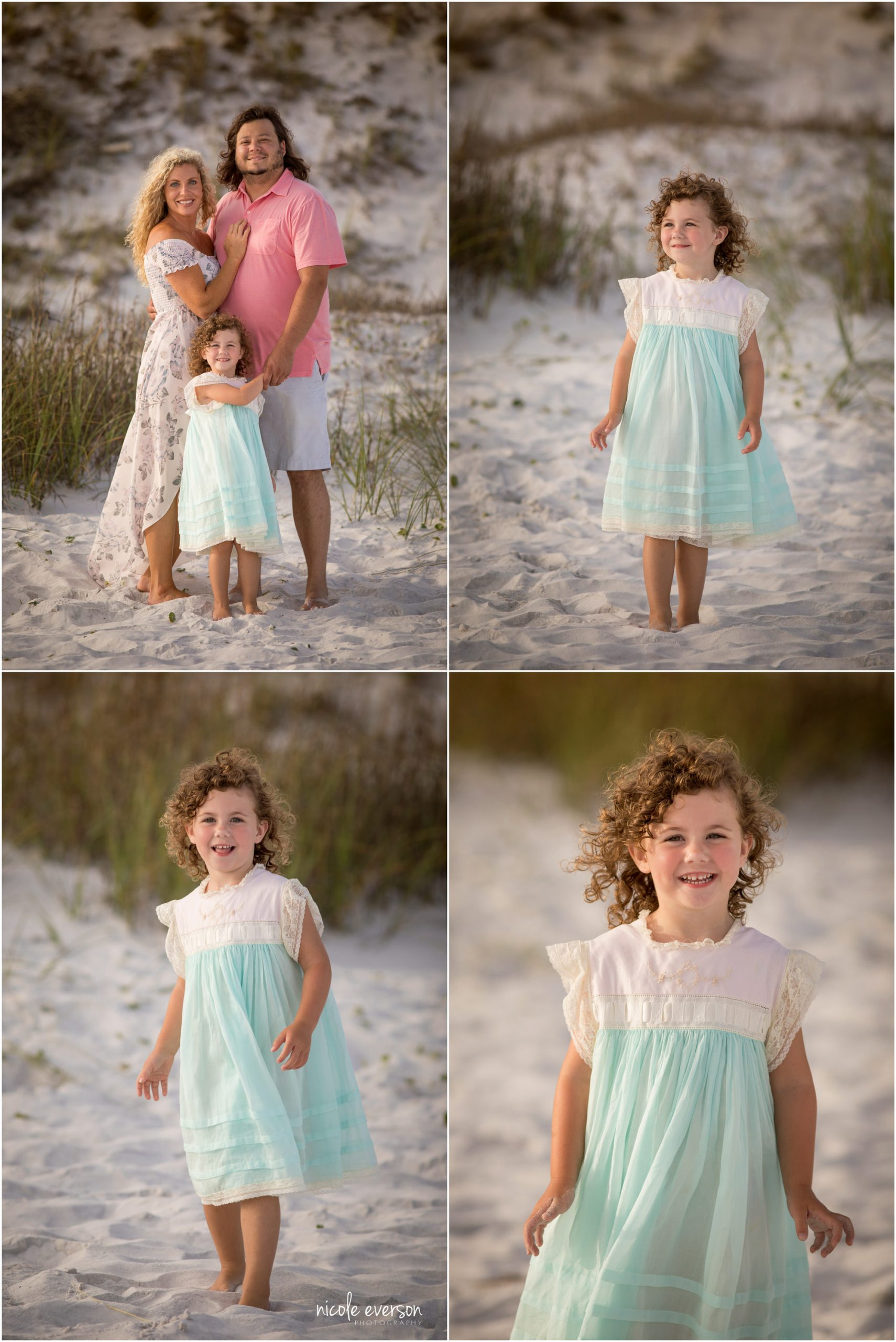 Little girl with curly hair in white and blue dress. Photographed by Nicole Everson, Watercolor Inn Beach Photographer.