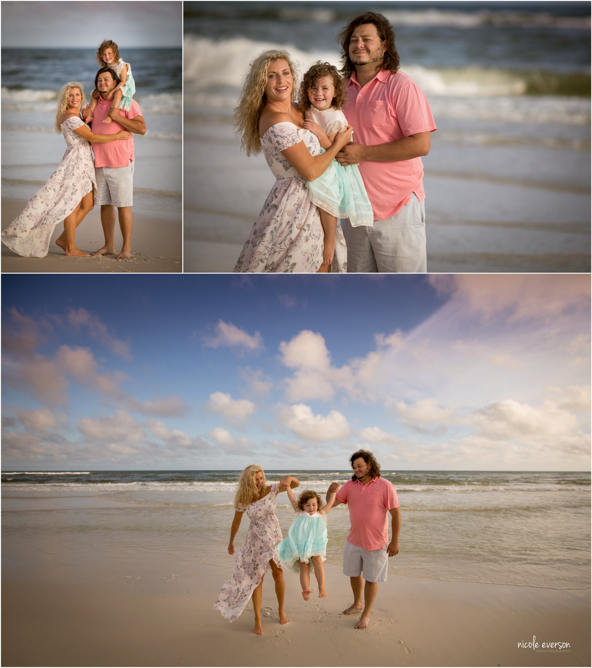 Dad, mom, and daughter having fun in the sand at Watercolor Inn Beach. Nicole Everson Photography at Watercolor Inn Beach.