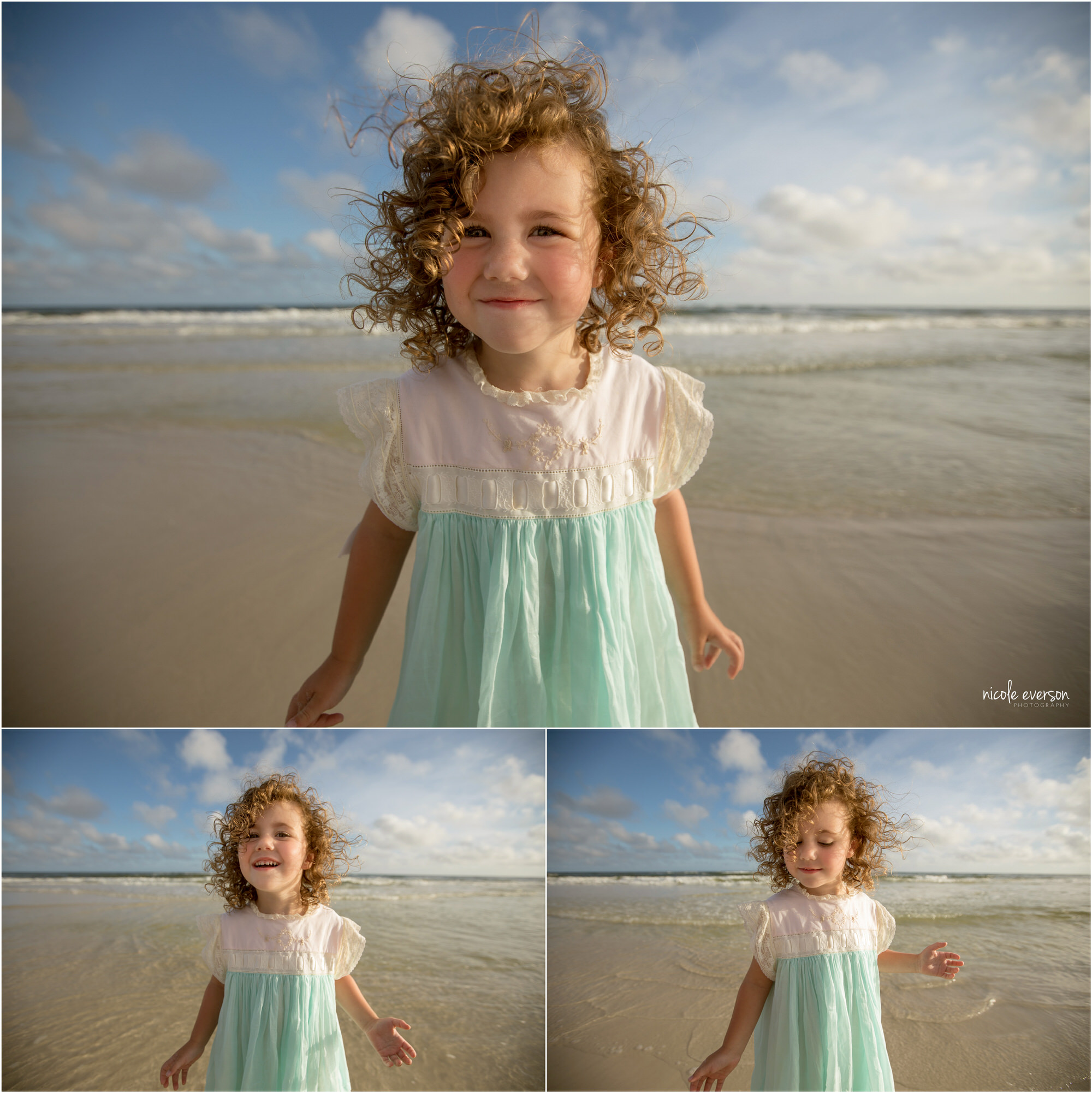 Curly haired little girl in white and blue dress on the beach. Photographed by Nicole Everson Photography.