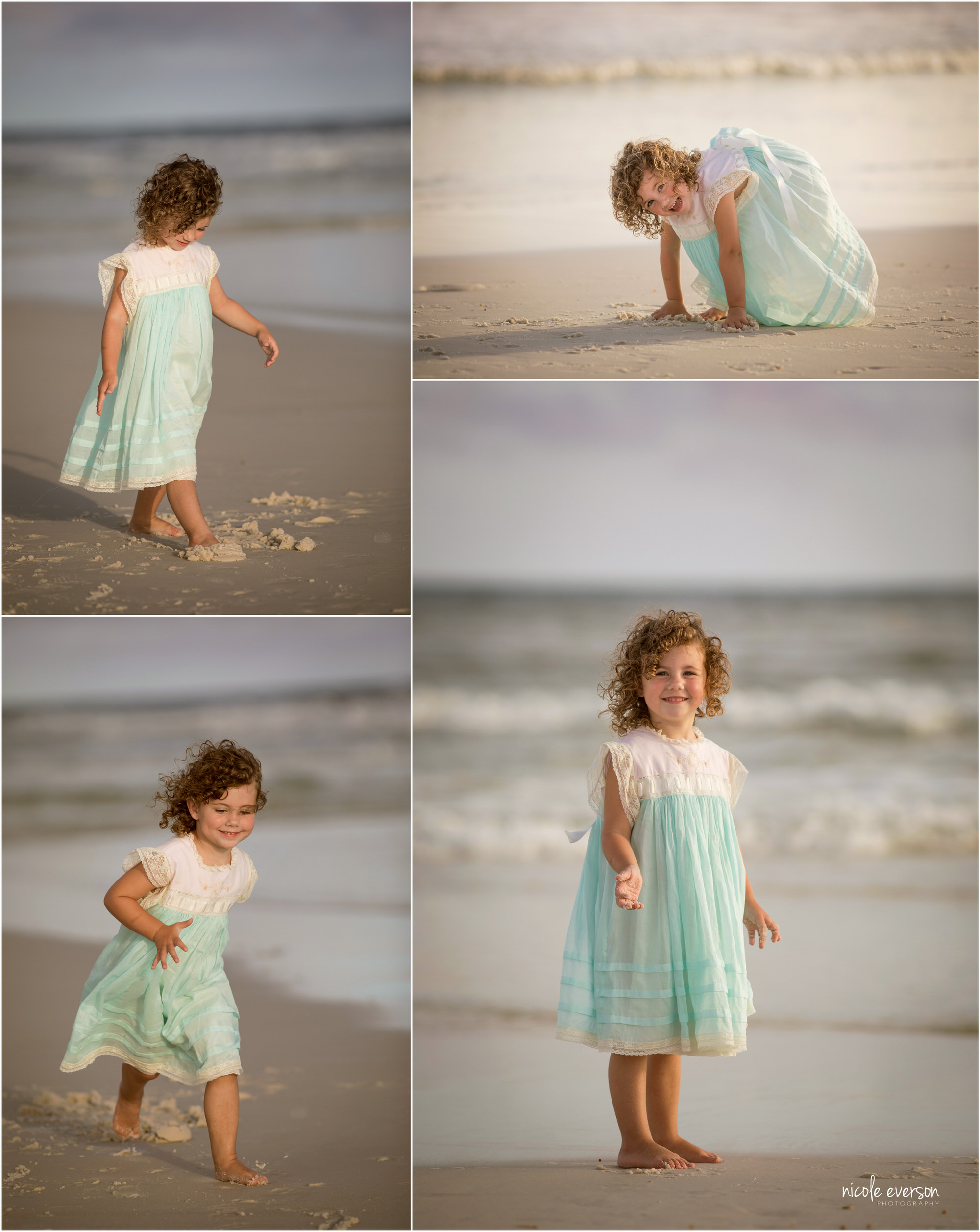 Smiling curly headed little girl at Watercolor Inn Beach. Nicole Everson, Watercolor Inn Beach Family Photographer.