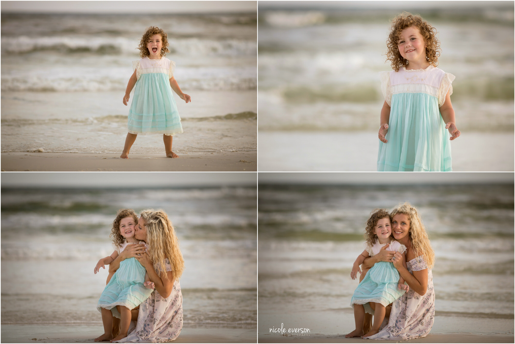Mom and daughter play together on Watercolor Inn Beach. Photographed by Nicole Everson Photography.