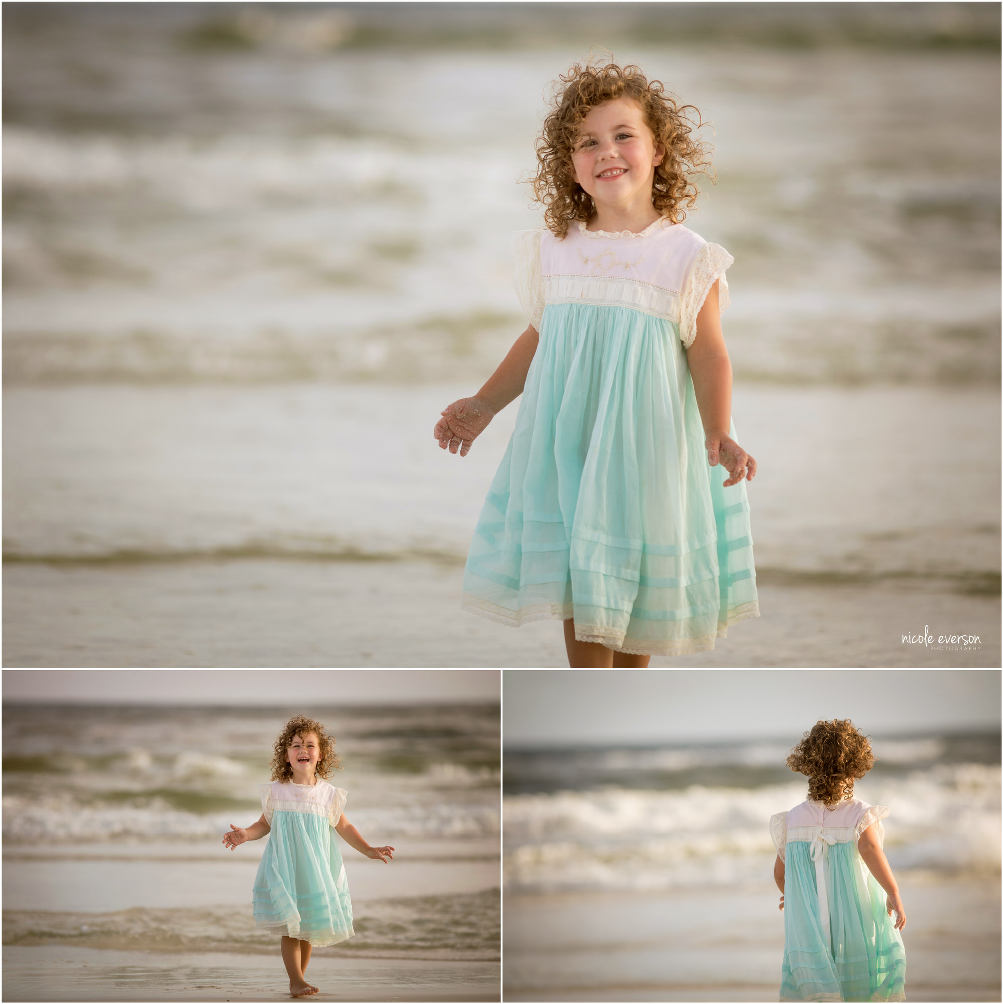 Curly headed girl runs on Watercolor Inn Beach. Photographed by Nicole Everson, Watercolor Inn Beach Family Photographer.