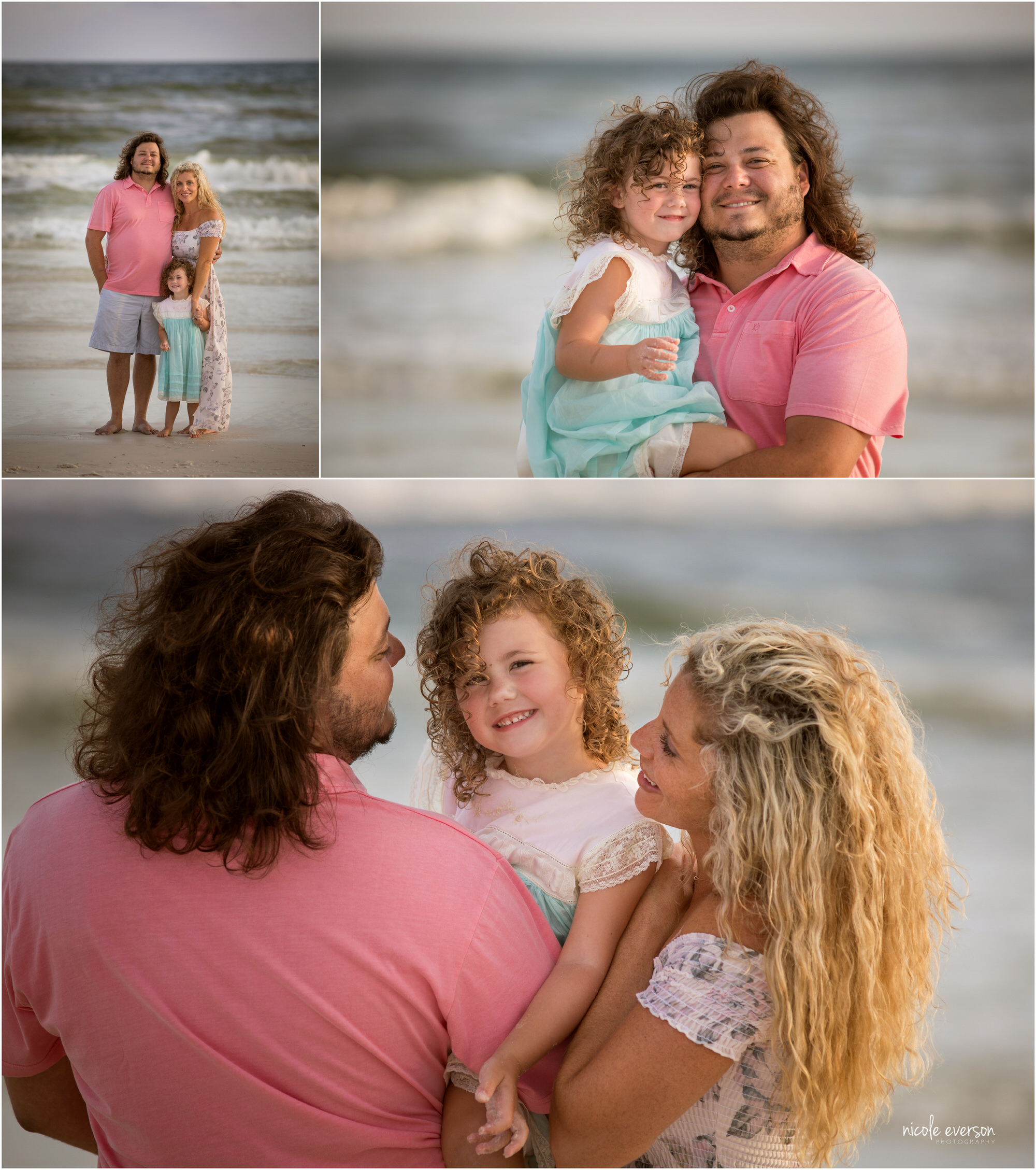 Family of three embracing on Watercolor Inn Beach. Photograph taken by Nicole Everson Photography.