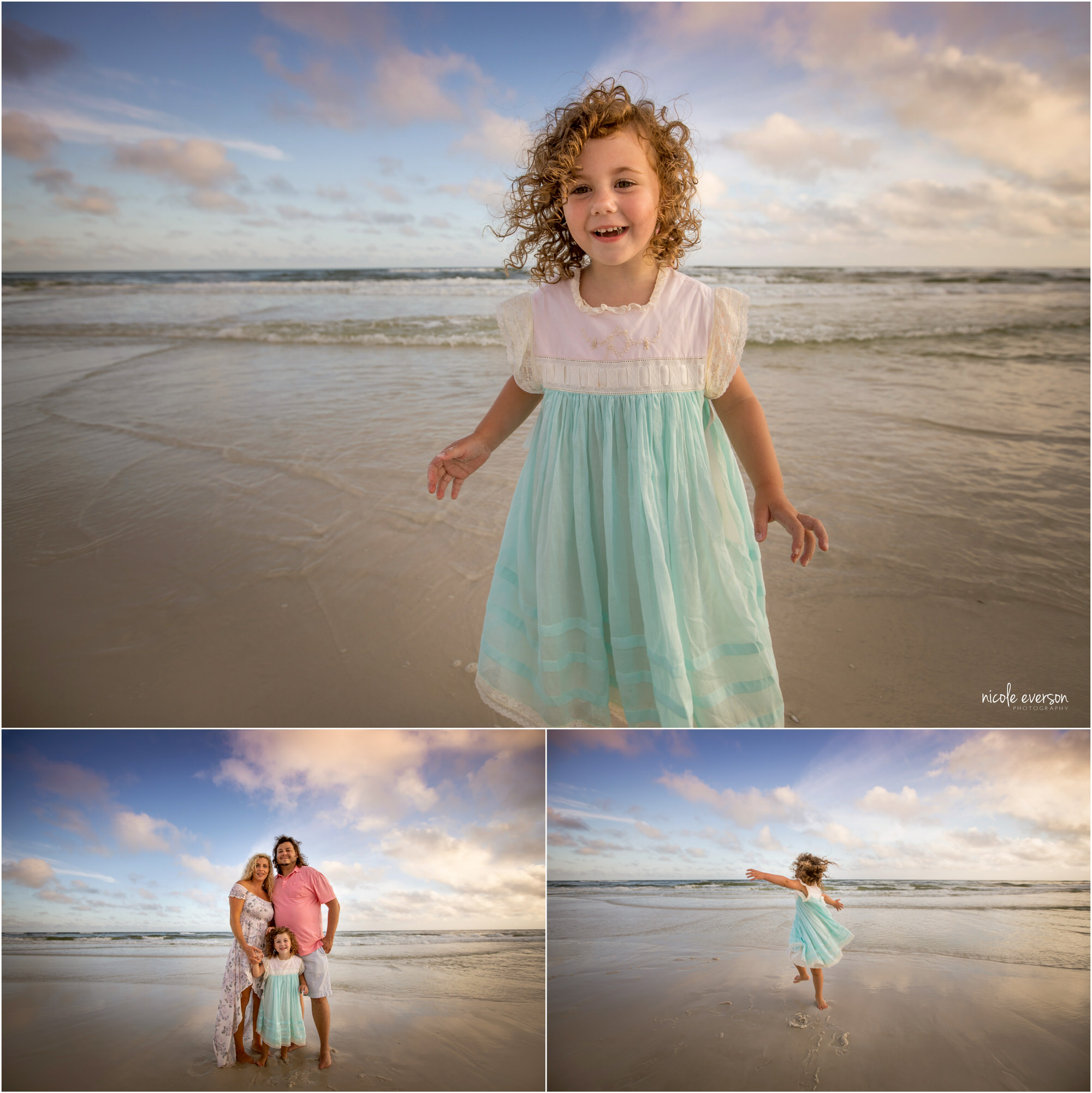 Little girl in white and blue dress playing with her mom and dad. Photographed by Nicole Everson Photography. Watercolor Inn Beach Family Photographer.