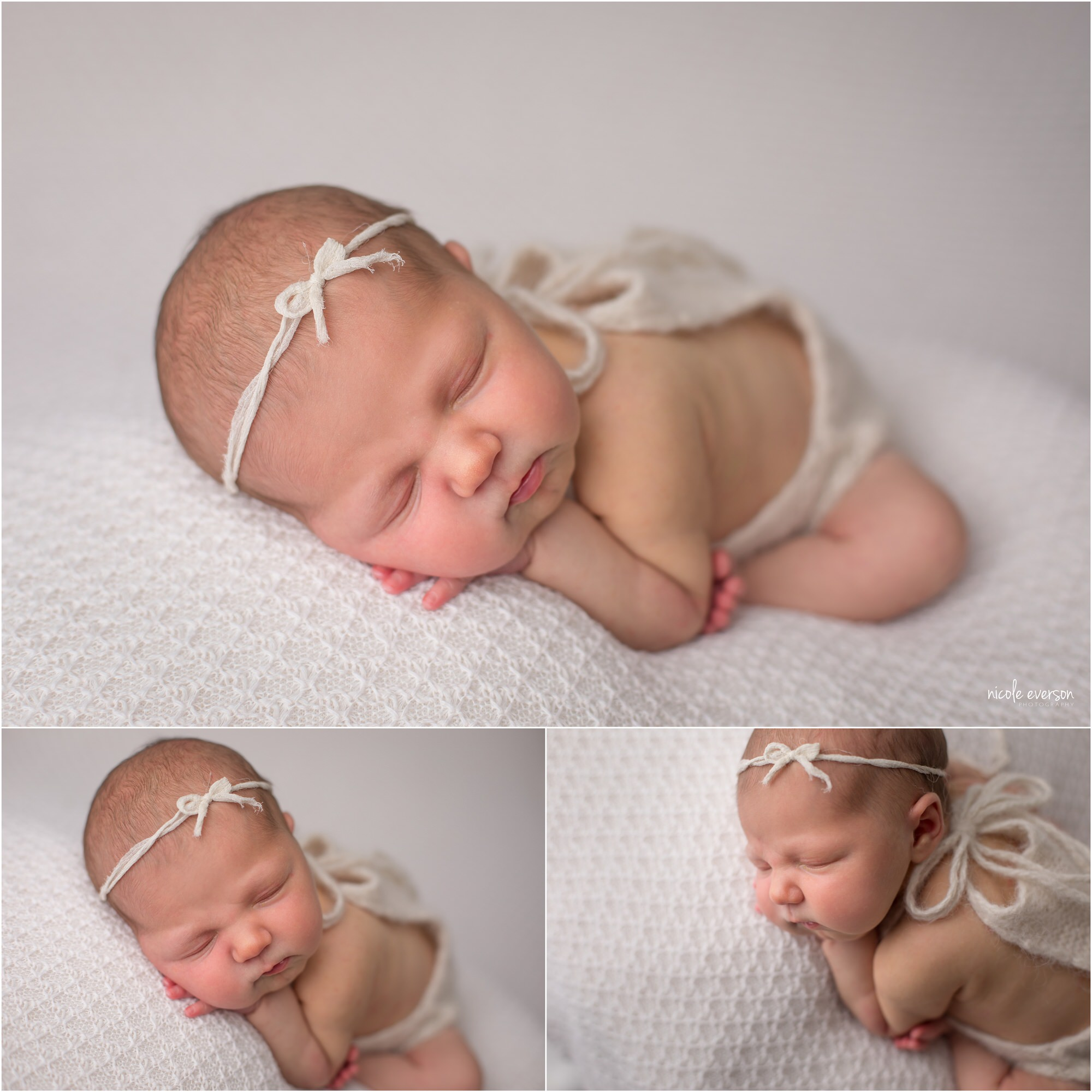 newborn pictures of a baby girl sleeping on a white backdrop