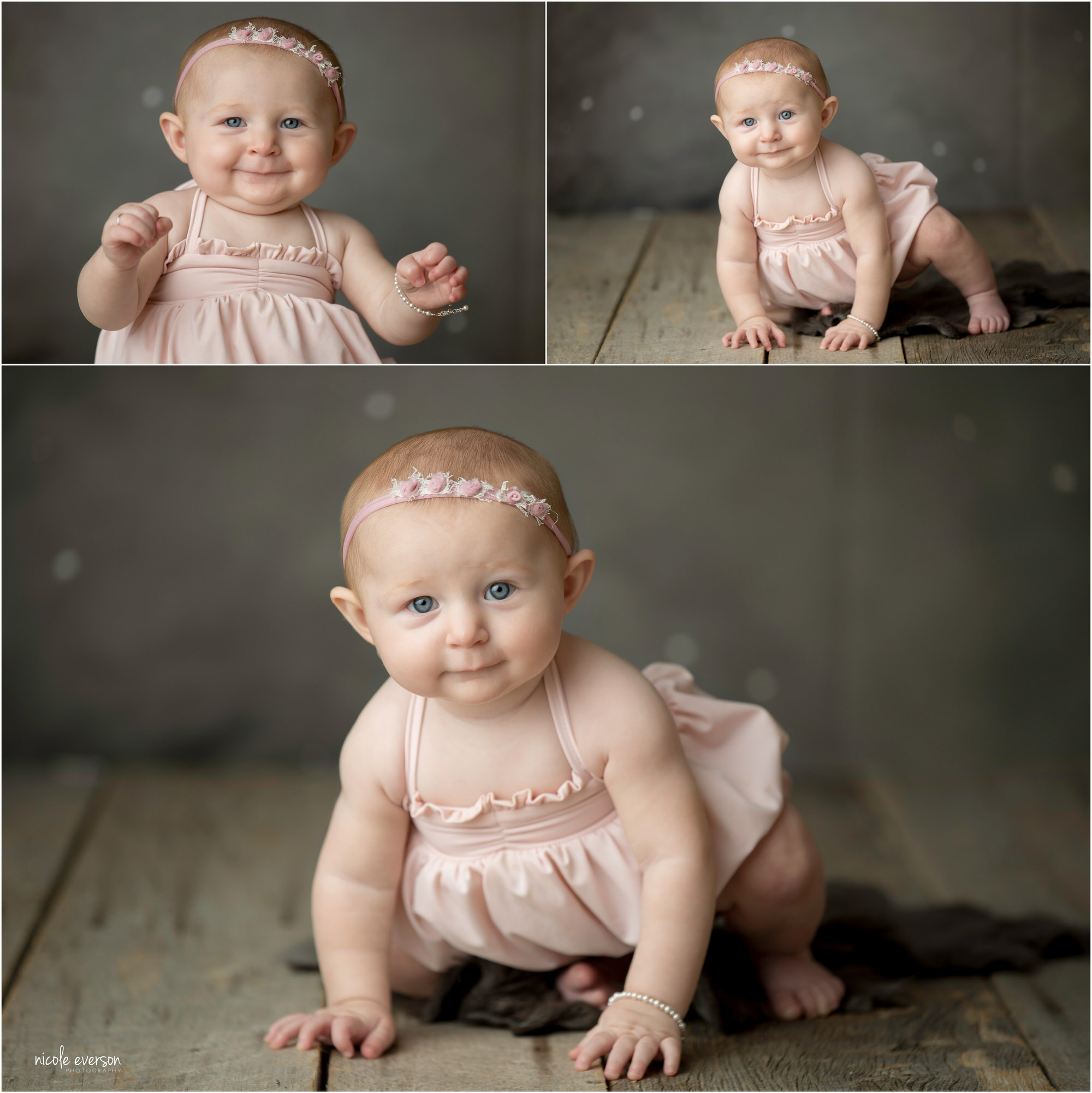 baby photos of a little girl on a grey photography set
