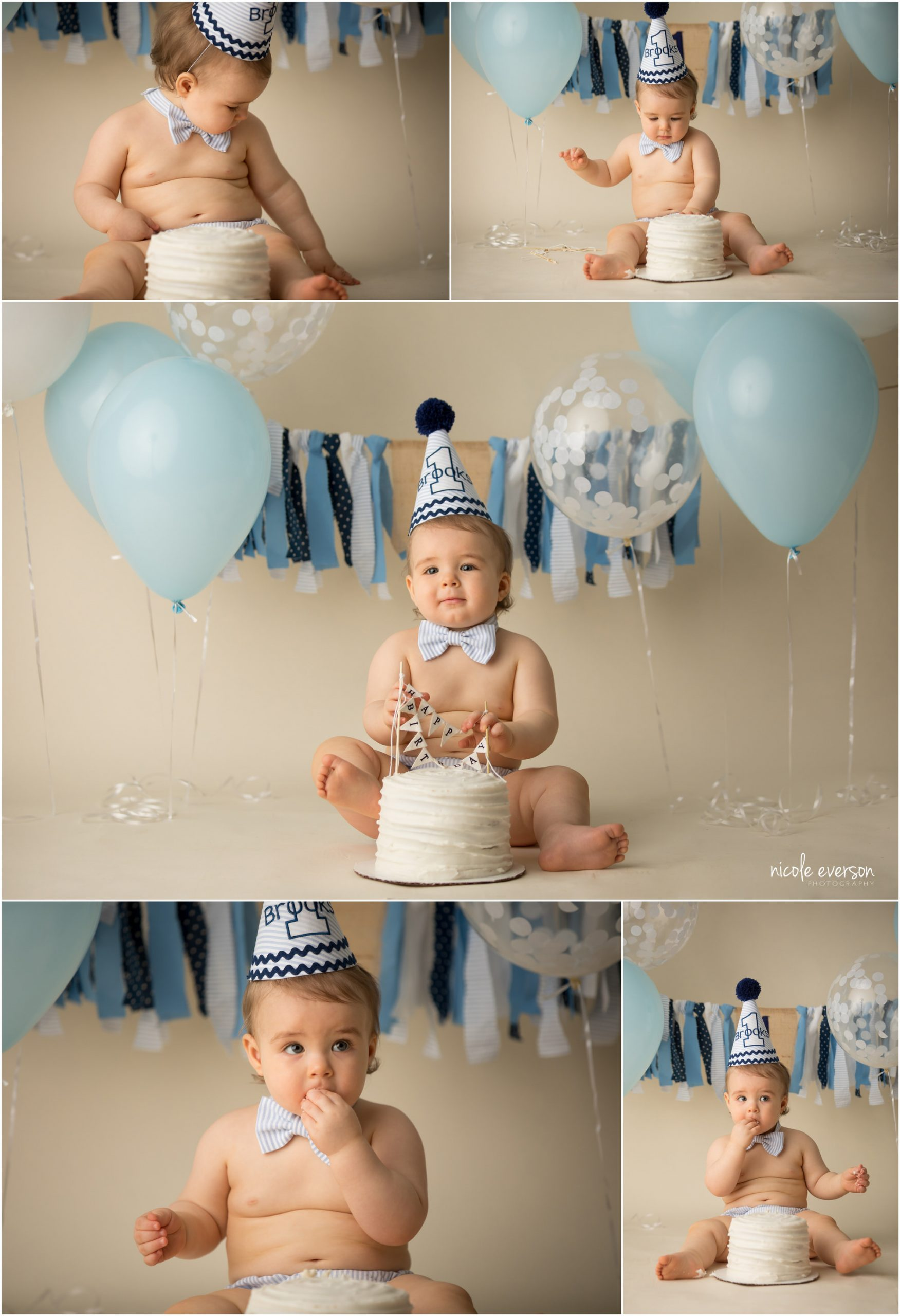 boy smash cake baby photos with baby blue and white birthday cake