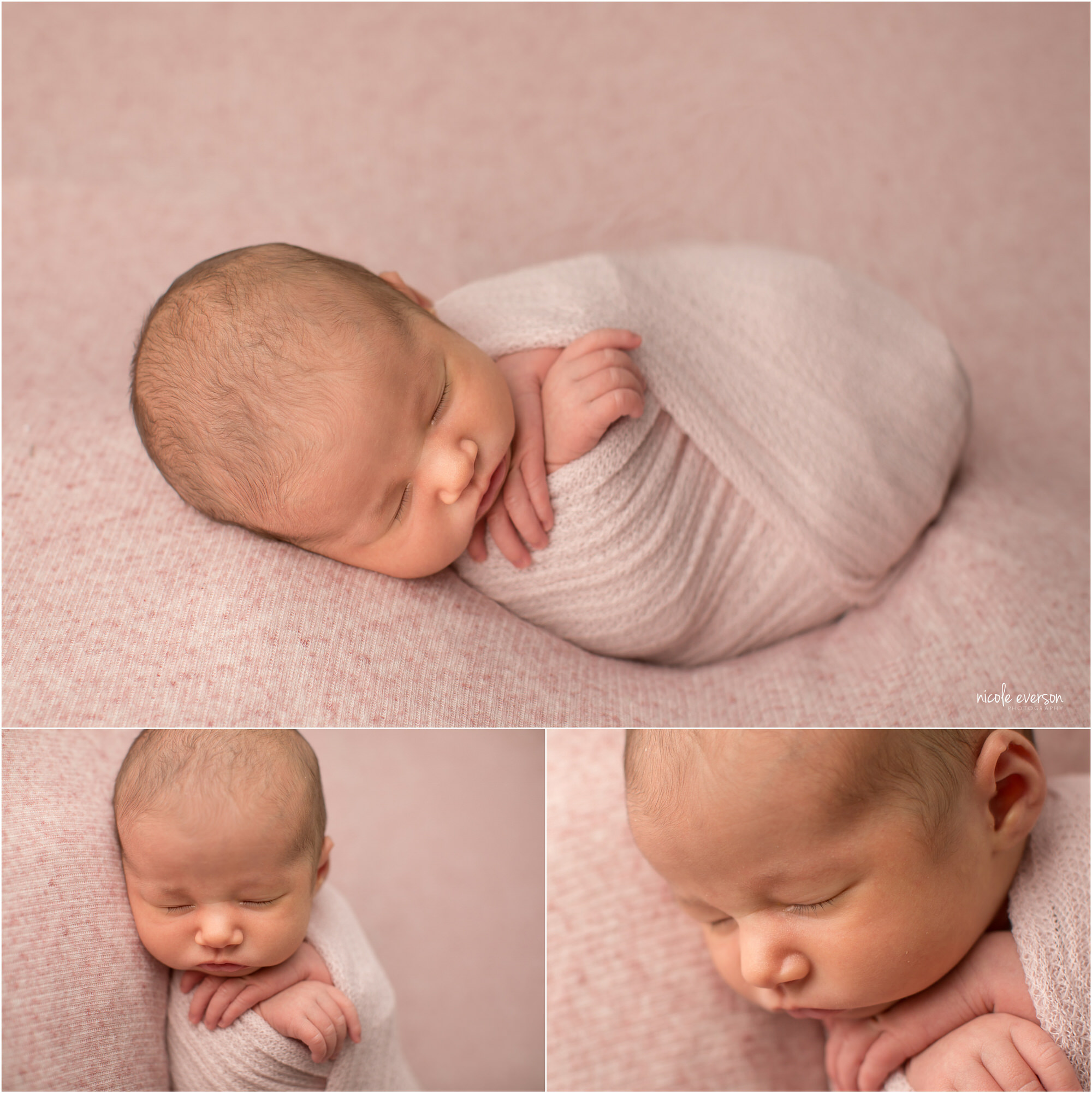 Destin Newborn Photos of a newborn baby girl swaddled in a soft pink blanket.