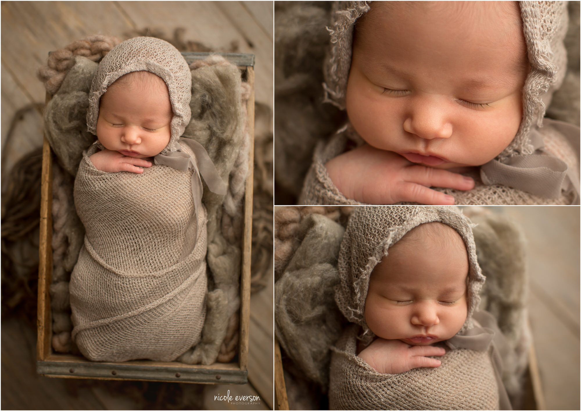 Destin Newborn Photos of a sleeping newborn posed in a soft brown wrap with matching bonnet. Nicole Everson Photography.