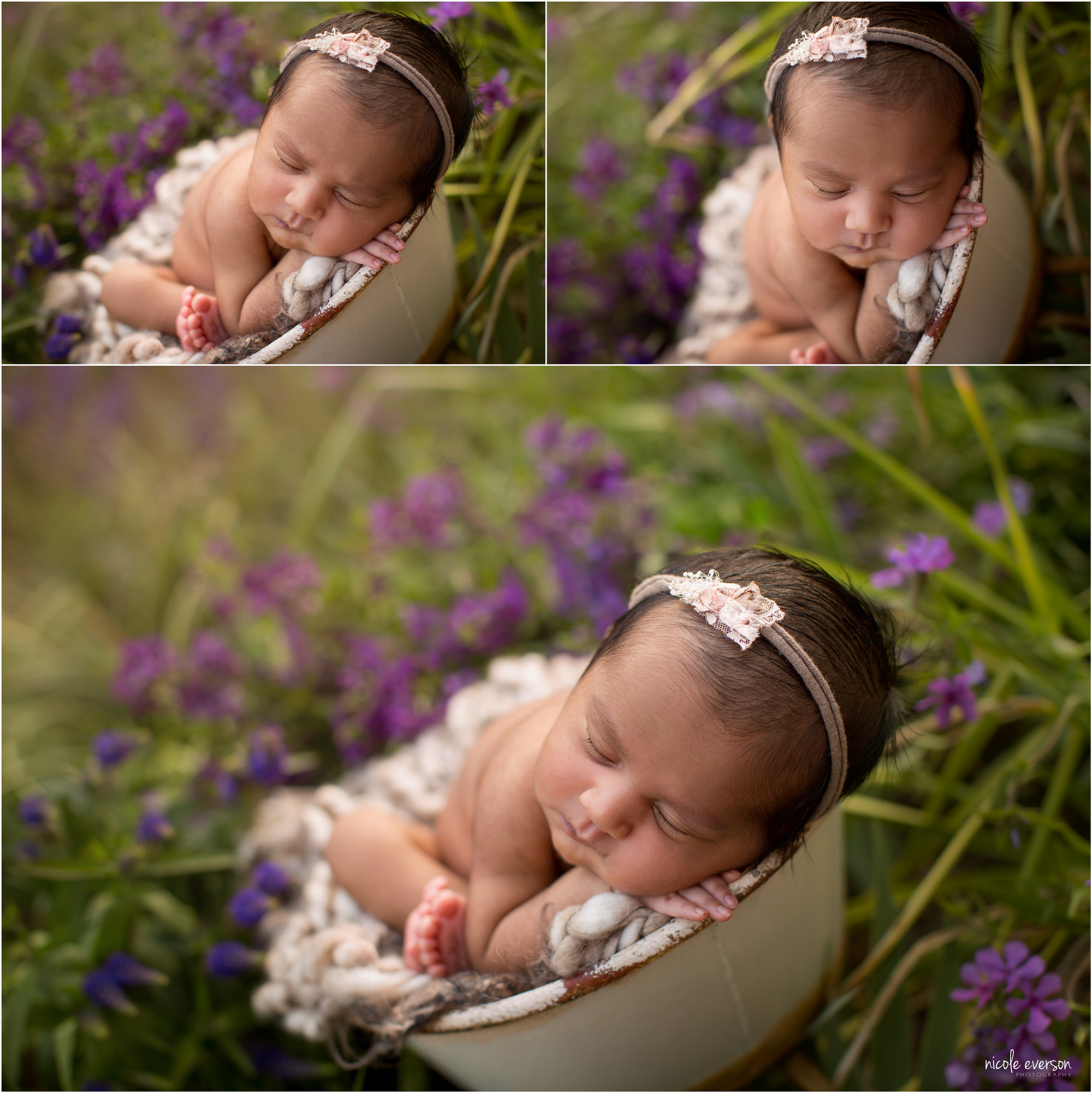 Newborn baby girl in a pink headband, snuggled in a bowl and surrounded by wildflowers. Tallahassee newborn photography. Nicole Everson Photography.