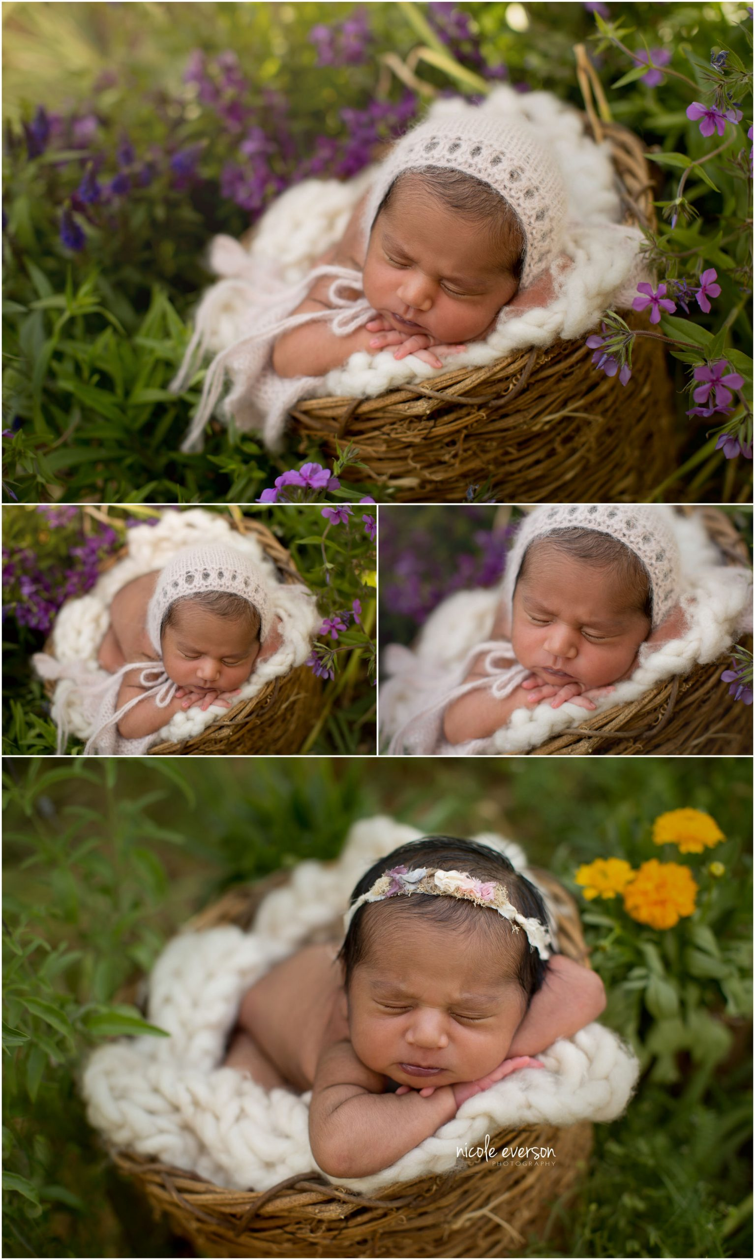 Newborn portraits of a baby girl swaddled in a fuzzy blanket. Garden newborn photos. Nicole Everson Photography.