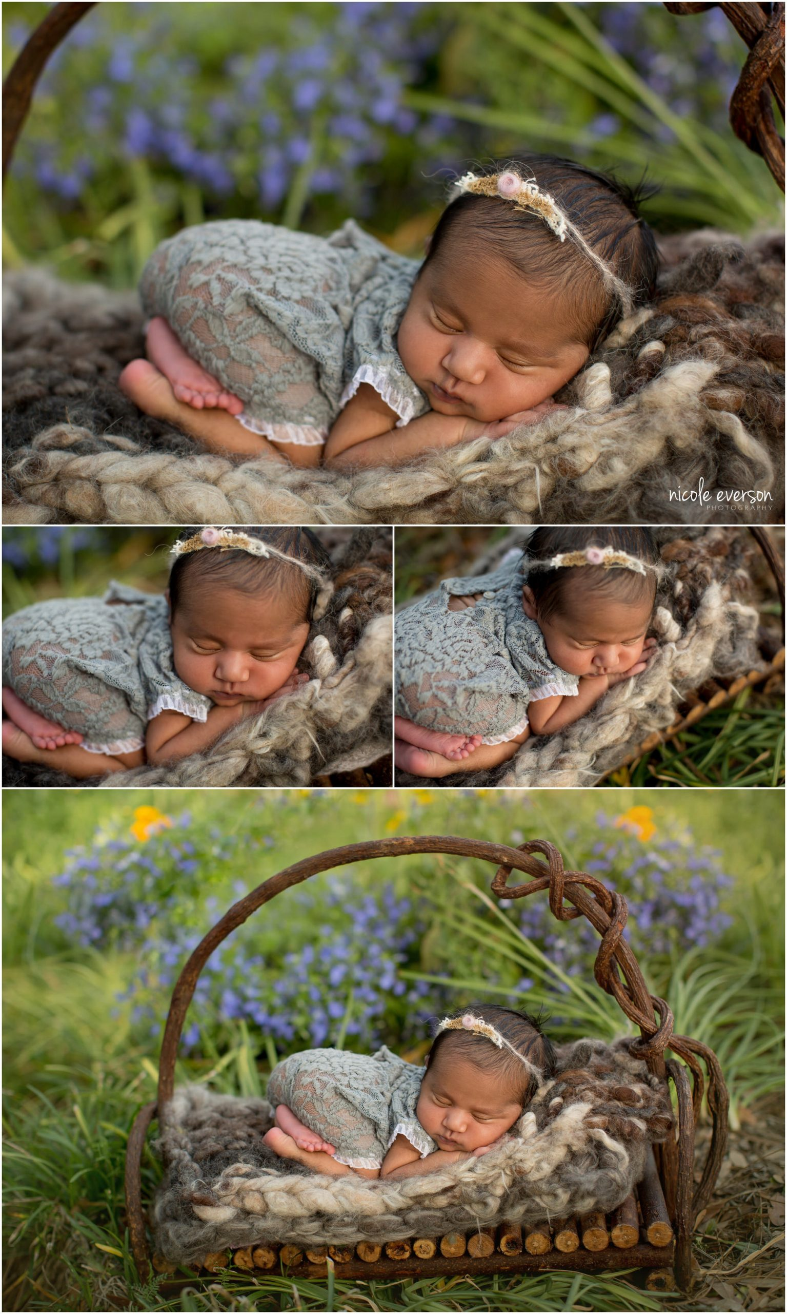 Tallahassee Newborn Portraits. Newborn baby girl in a grey lace outfit snuggled in a basket in a garden. Nicole Everson Photography.