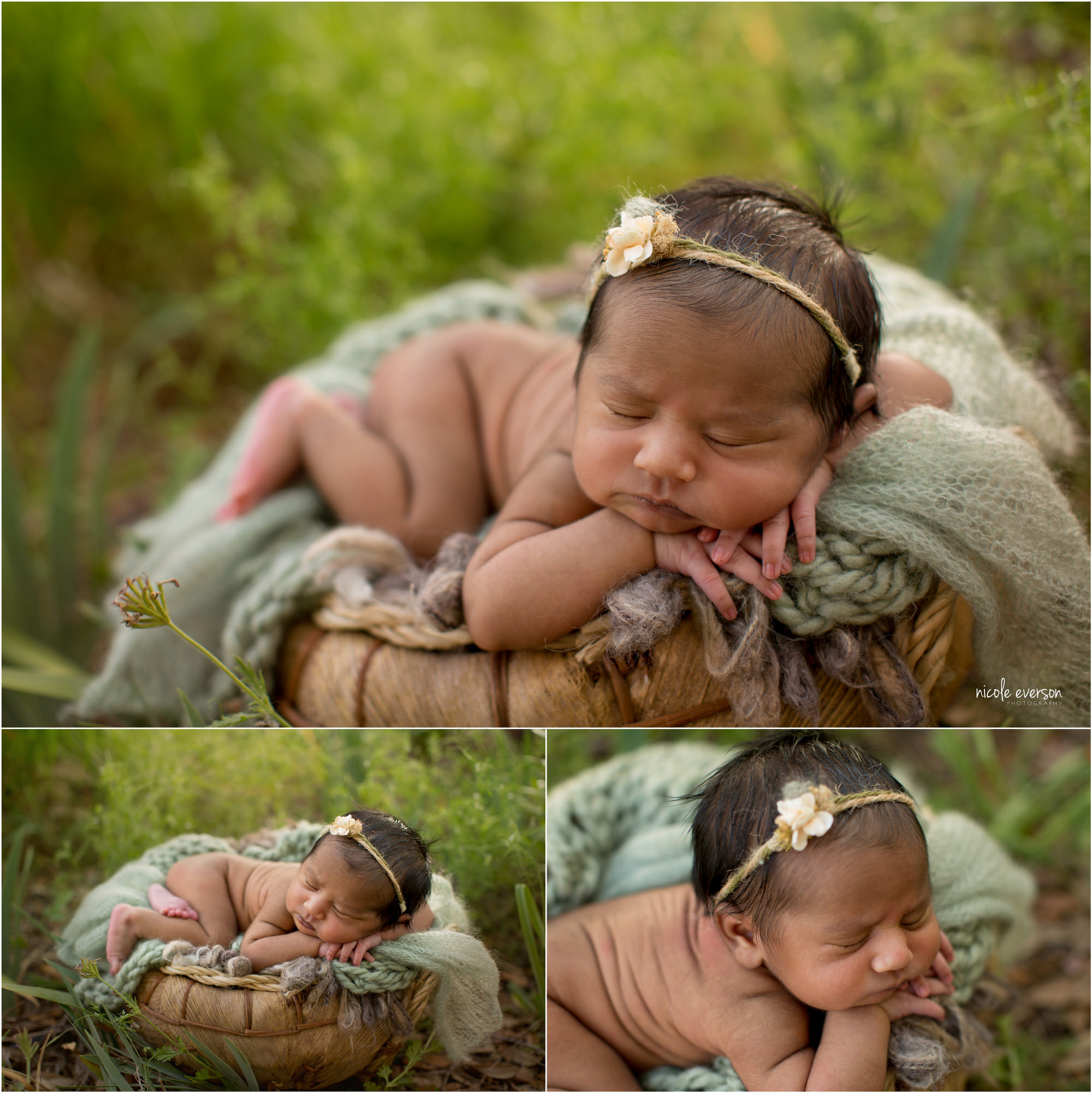 Baby girl wearing a flower headband snuggled on blankets in a basket. Tallahassee Newborn Photography. Nicole Everson Photography.
