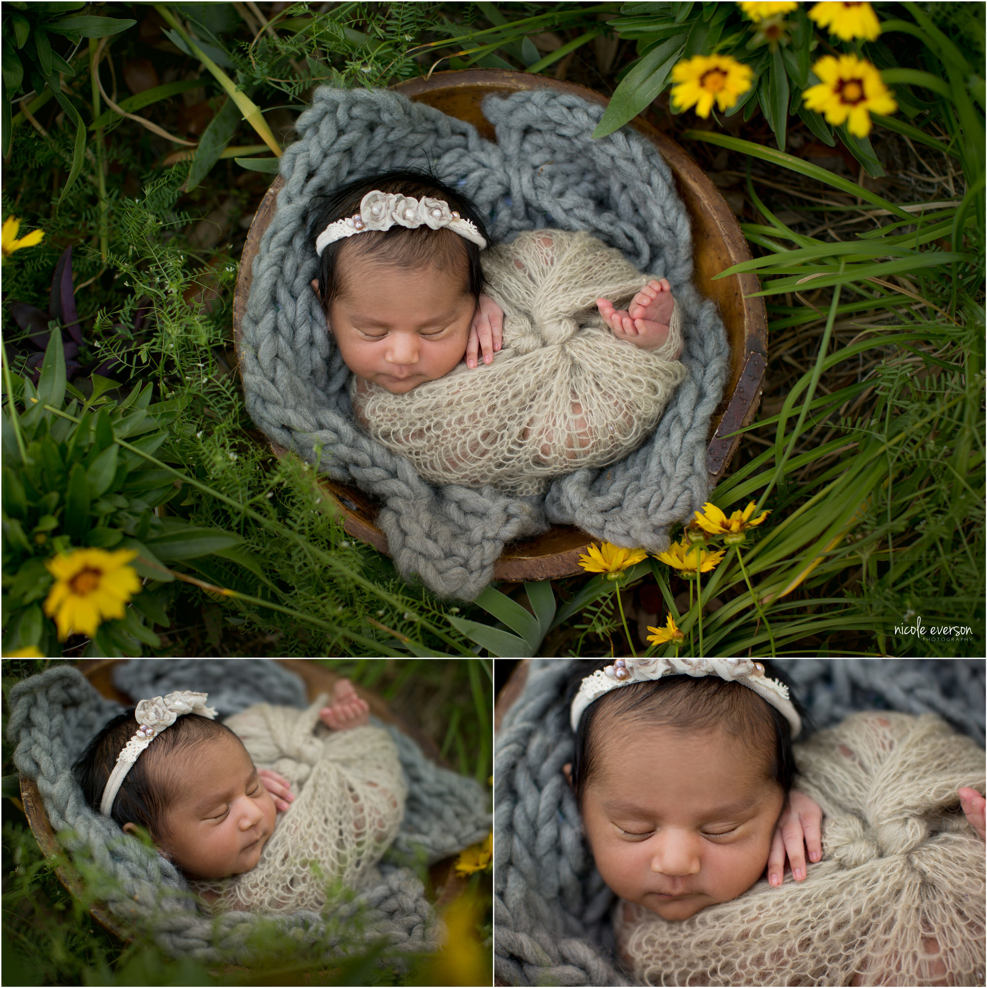 Newborn baby girl snuggled in soft brown and grey blankets in a basket. Tallahassee Newborn Potraits. Nicole Everson Photography.