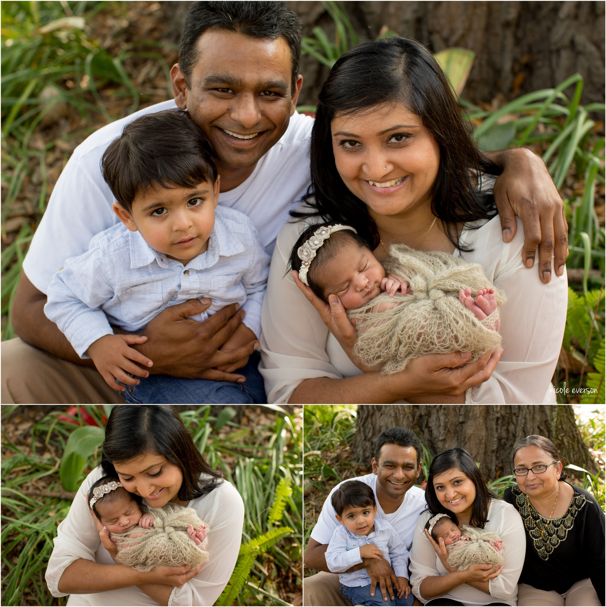 Family portraits during a newborn session. Dad, Mom, Grandma, and baby girl in the garden. Tallahassee Newborn Photography.