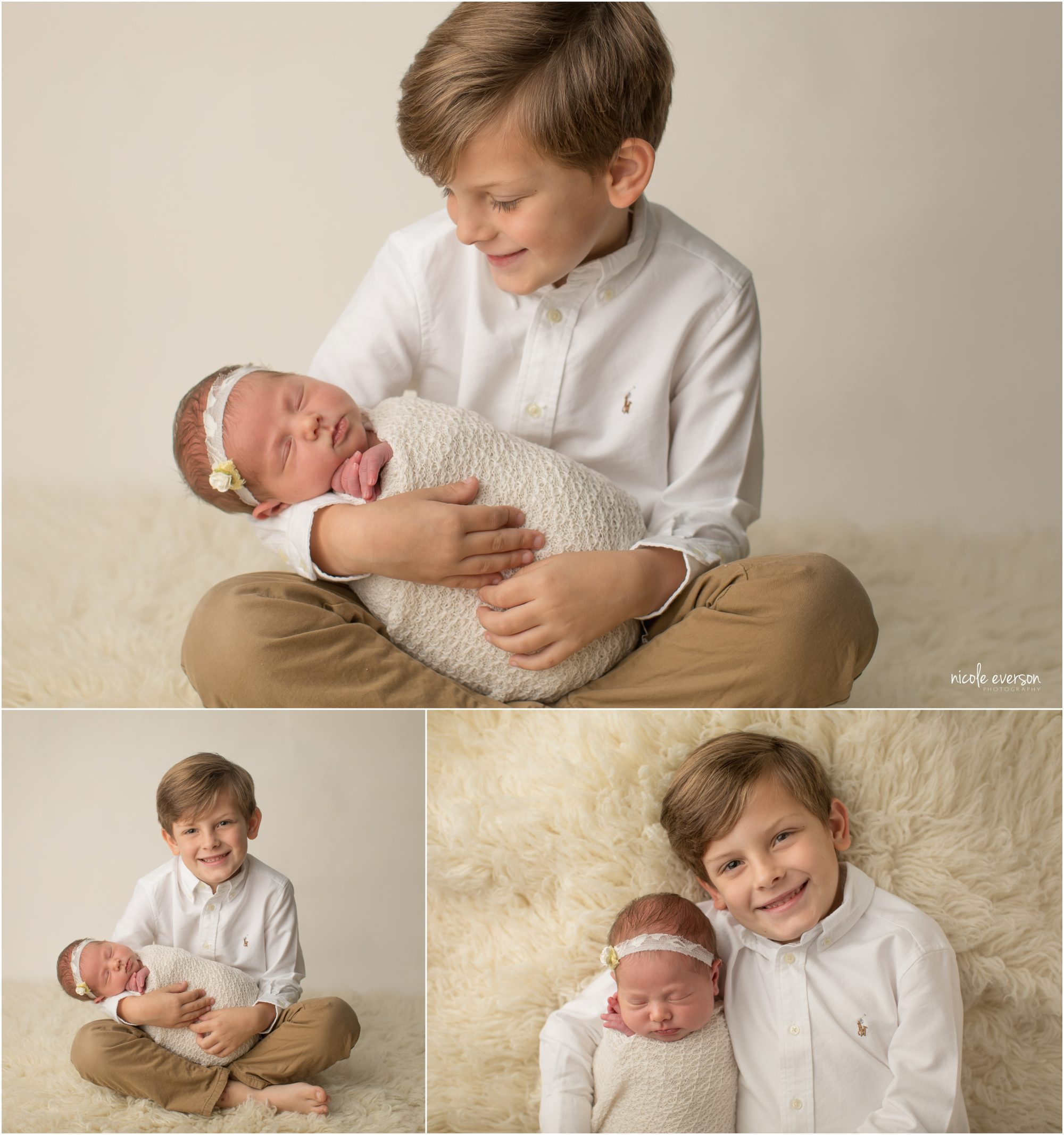 newborn picture with big brother holding baby sister on a cream photography backdrop